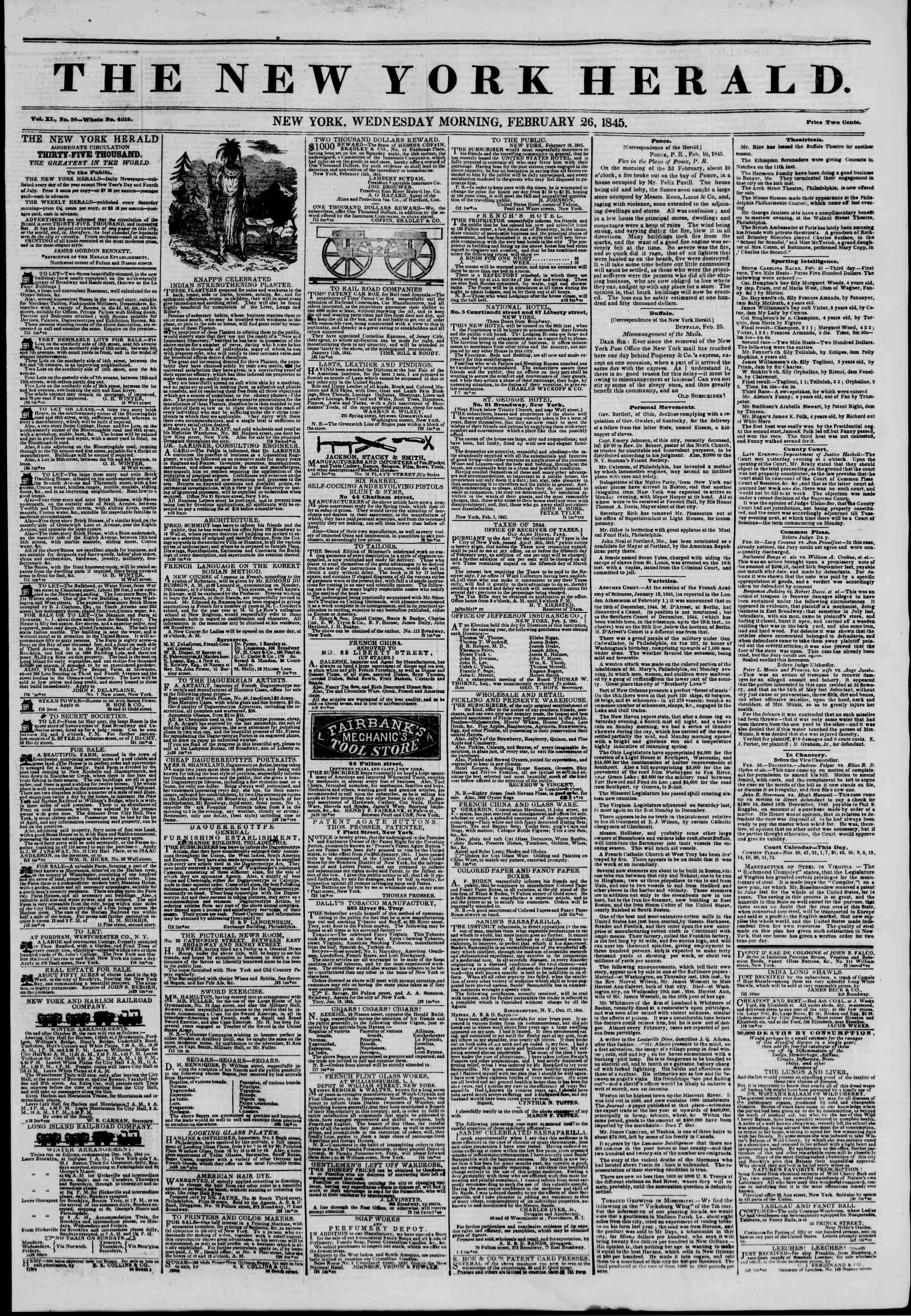 February 26, 1845 Tarihli The New York Herald Gazetesi Sayfa 1