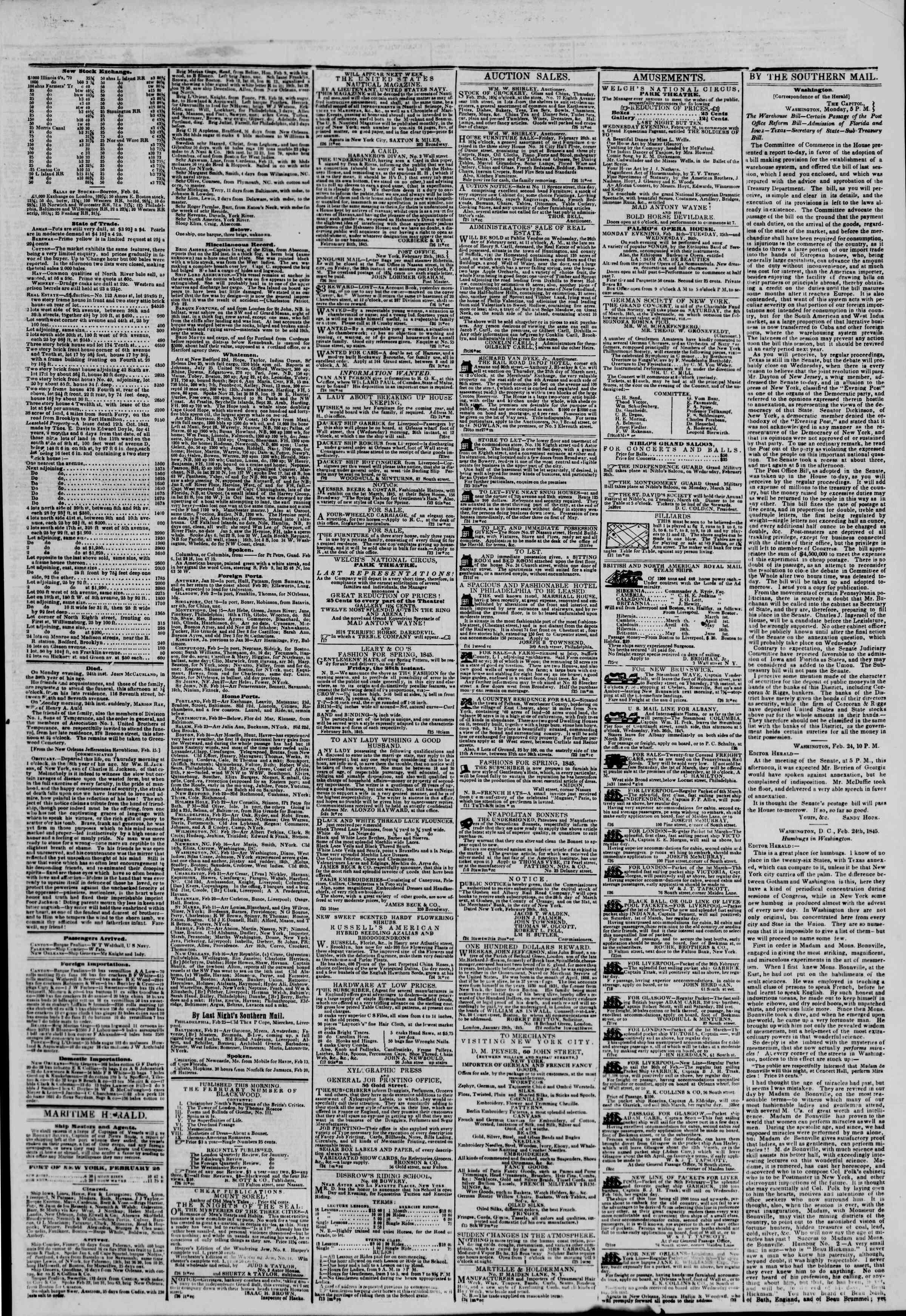 February 26, 1845 Tarihli The New York Herald Gazetesi Sayfa 3