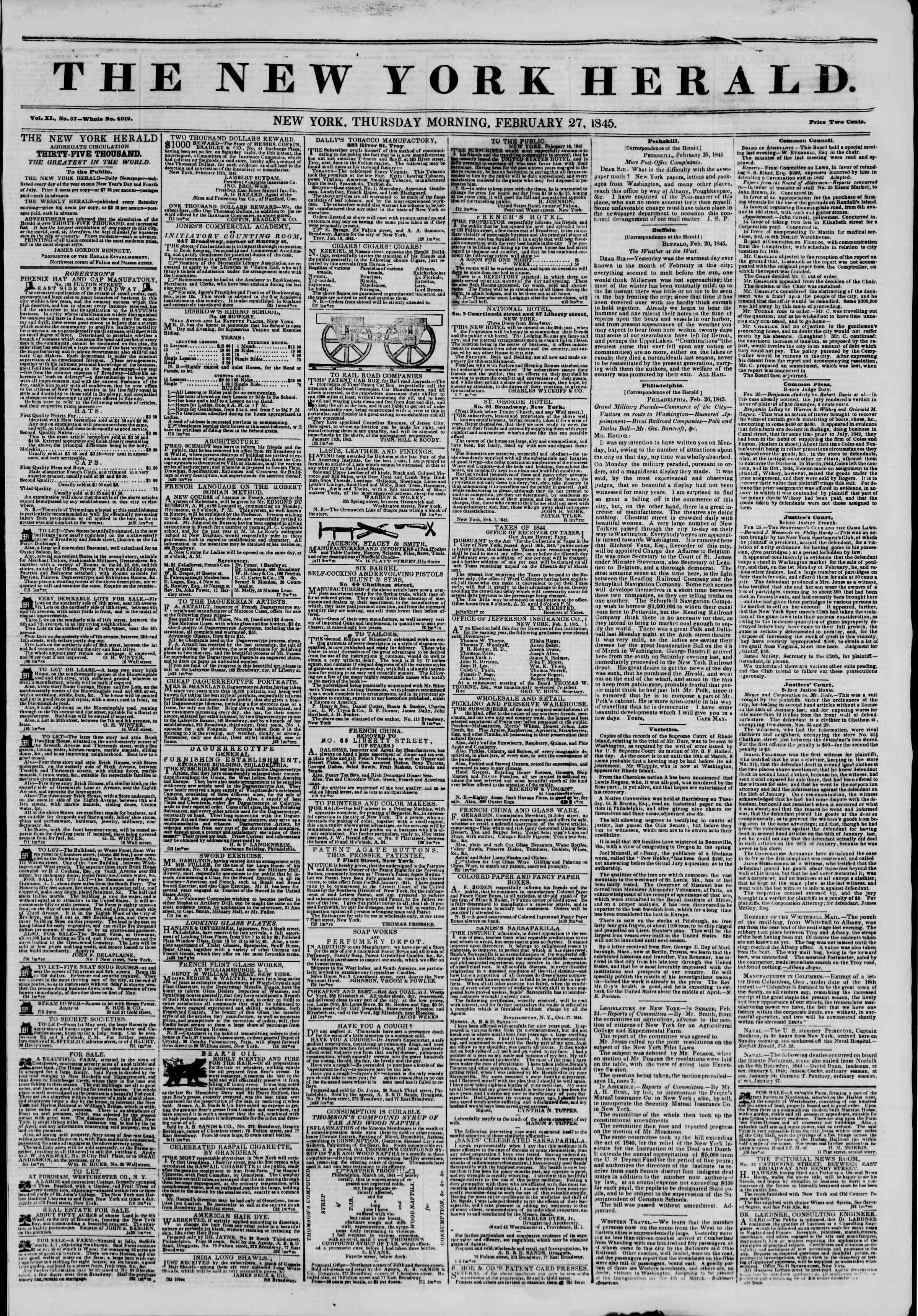 Newspaper of The New York Herald dated February 27, 1845 Page 1