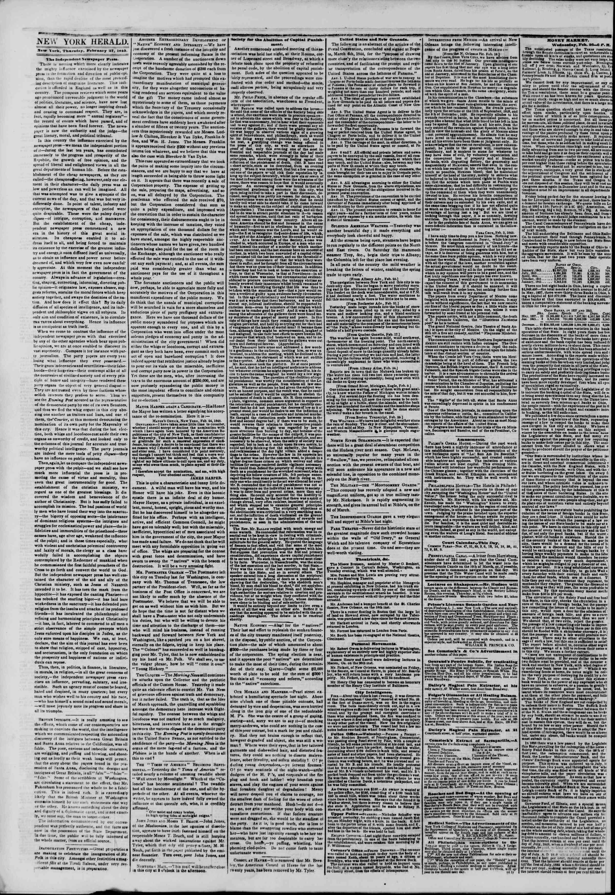 February 27, 1845 Tarihli The New York Herald Gazetesi Sayfa 2