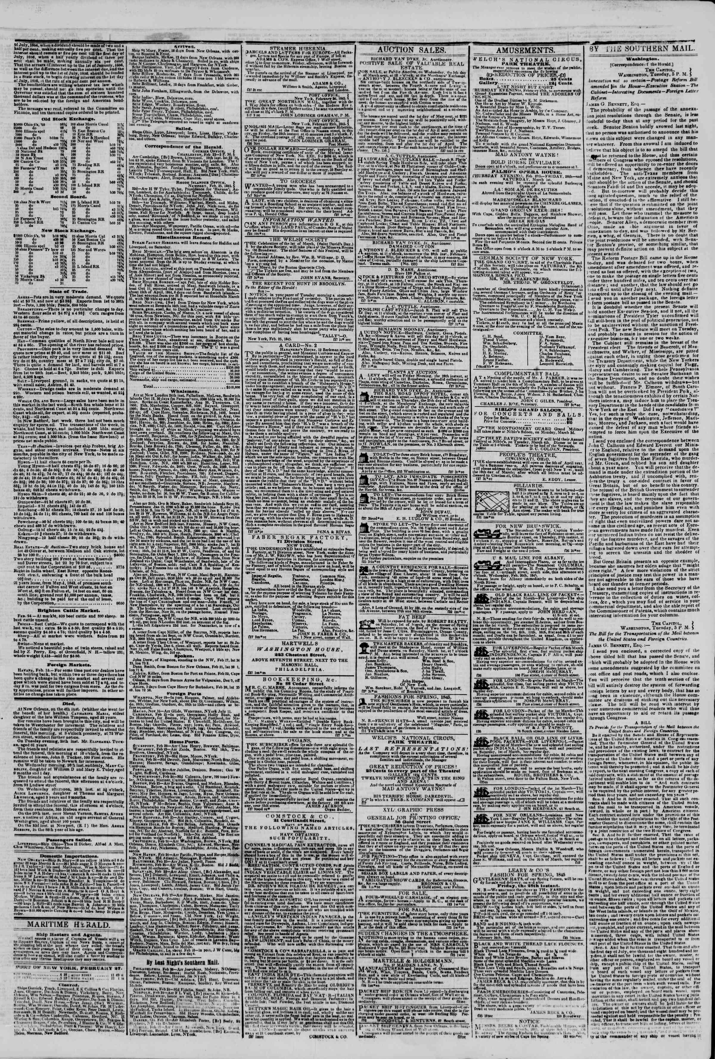 February 27, 1845 Tarihli The New York Herald Gazetesi Sayfa 3