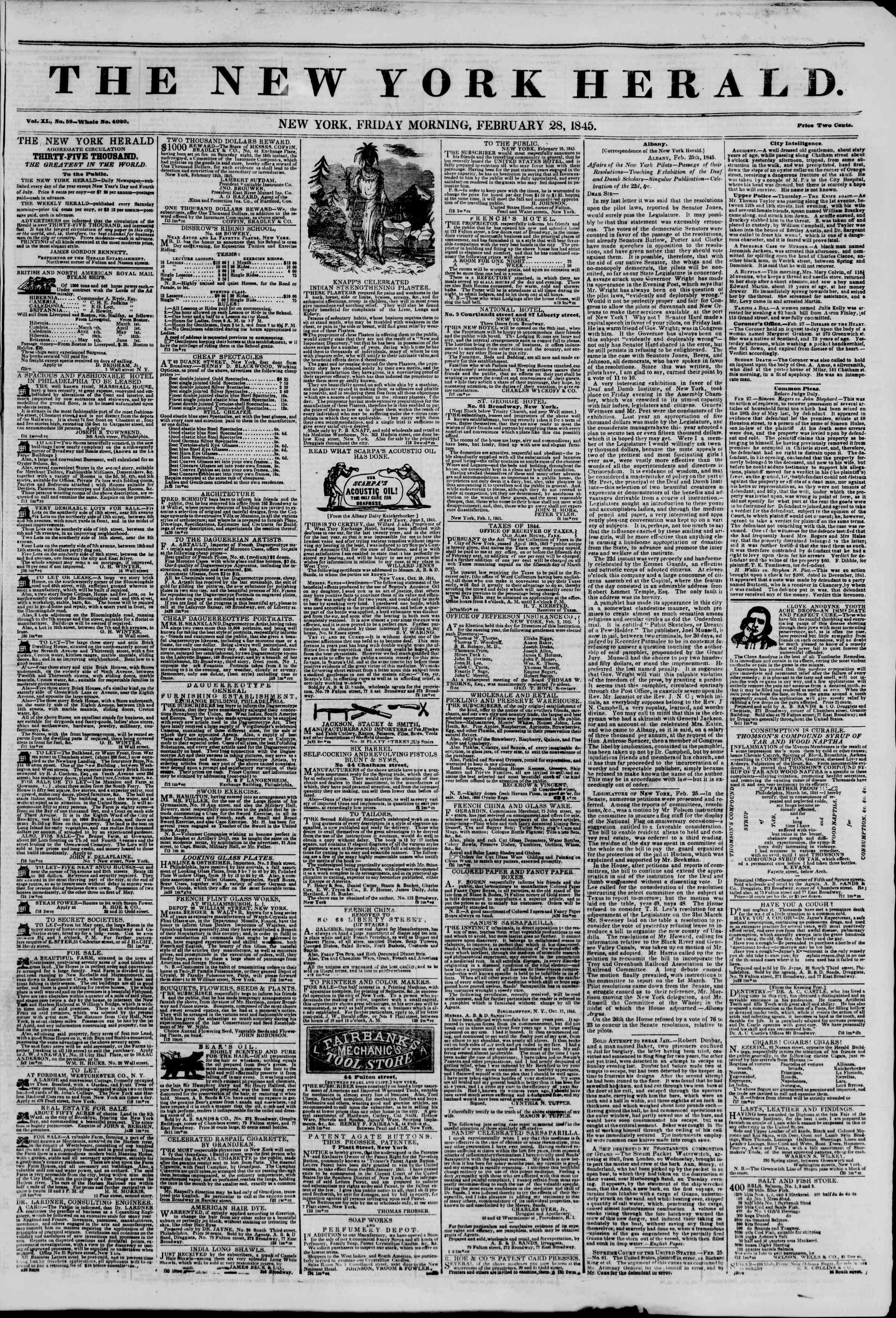 February 28, 1845 Tarihli The New York Herald Gazetesi Sayfa 1