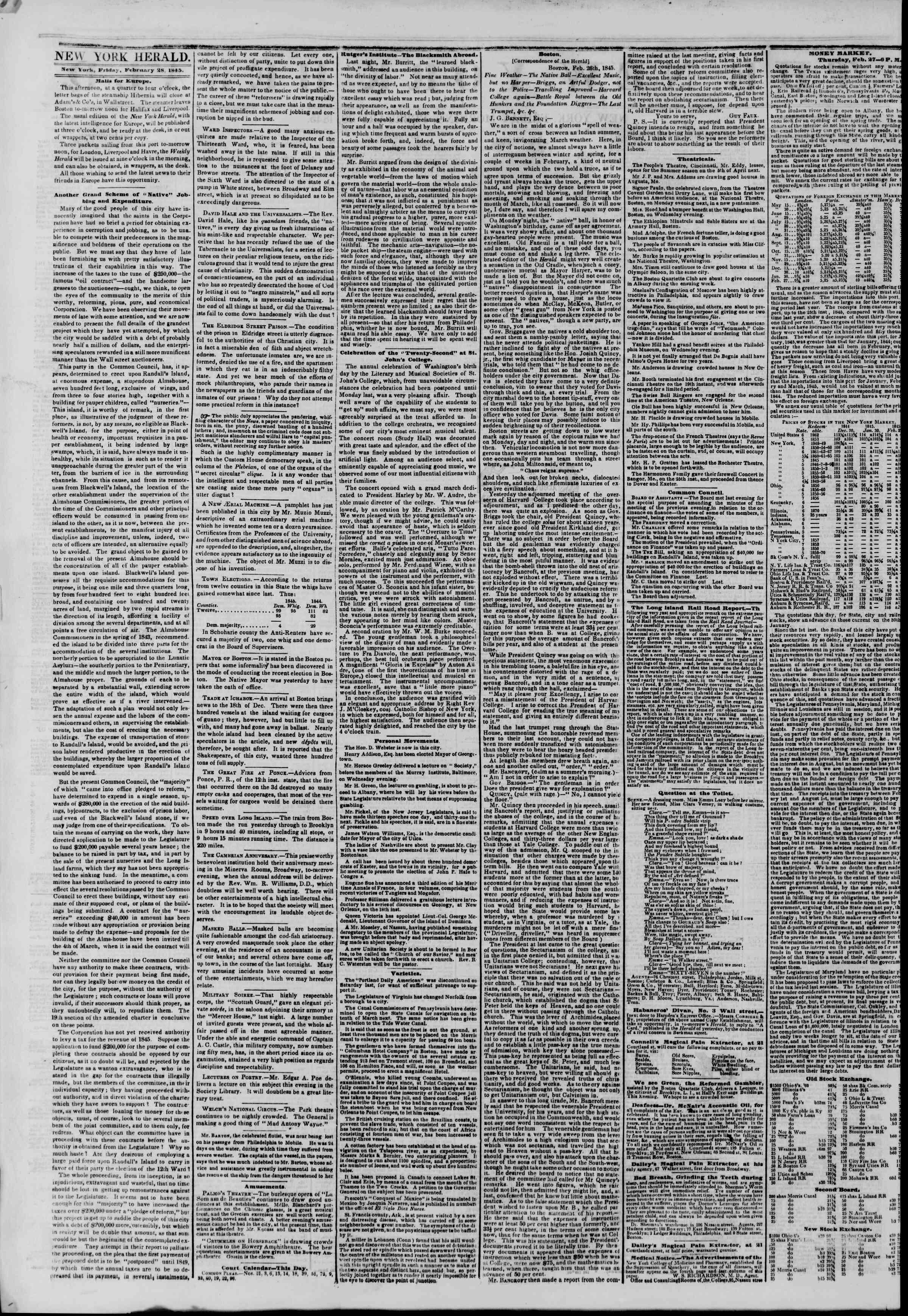 28 Şubat 1845 Tarihli The New York Herald Gazetesi Sayfa 2