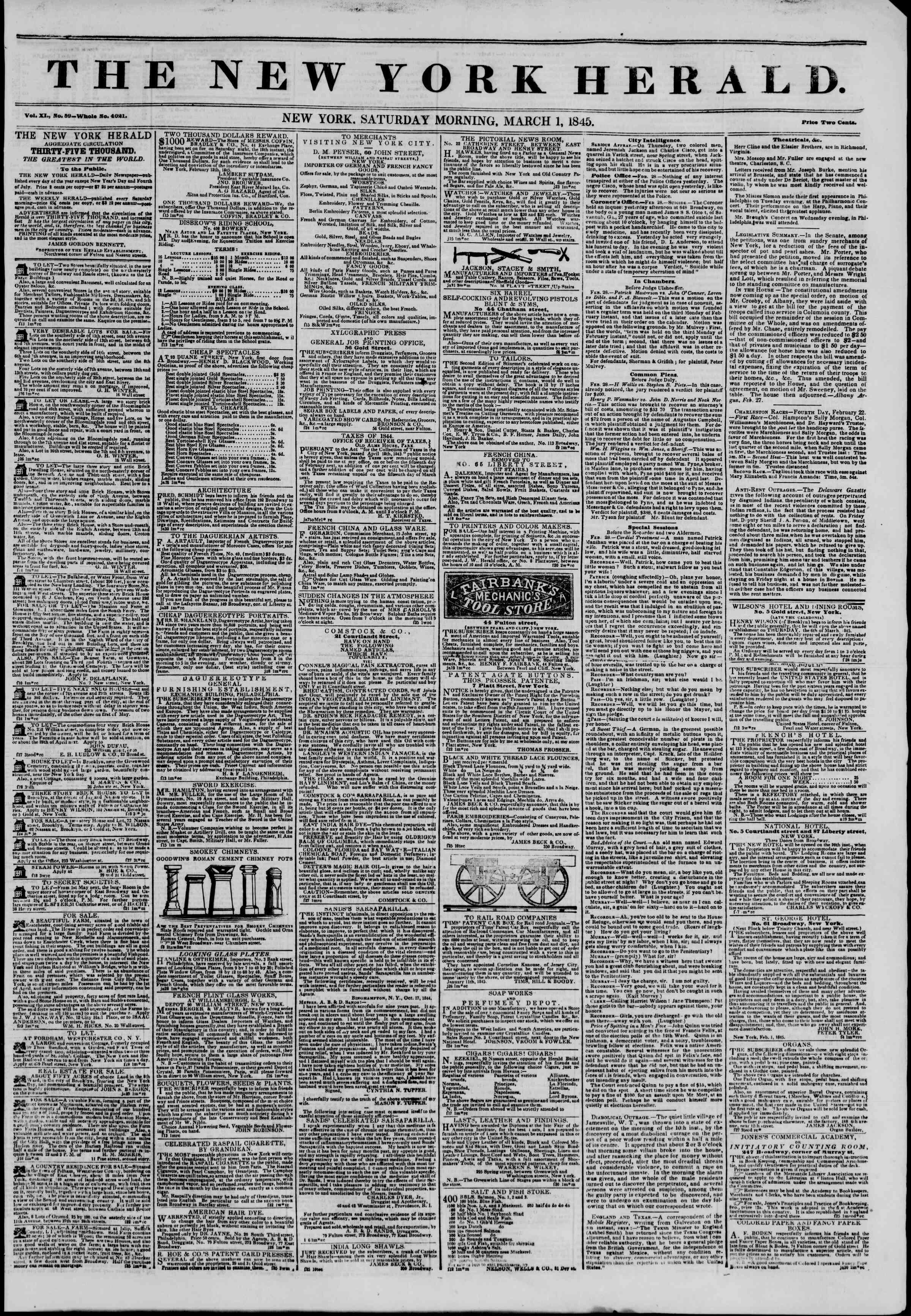 March 1, 1845 Tarihli The New York Herald Gazetesi Sayfa 1