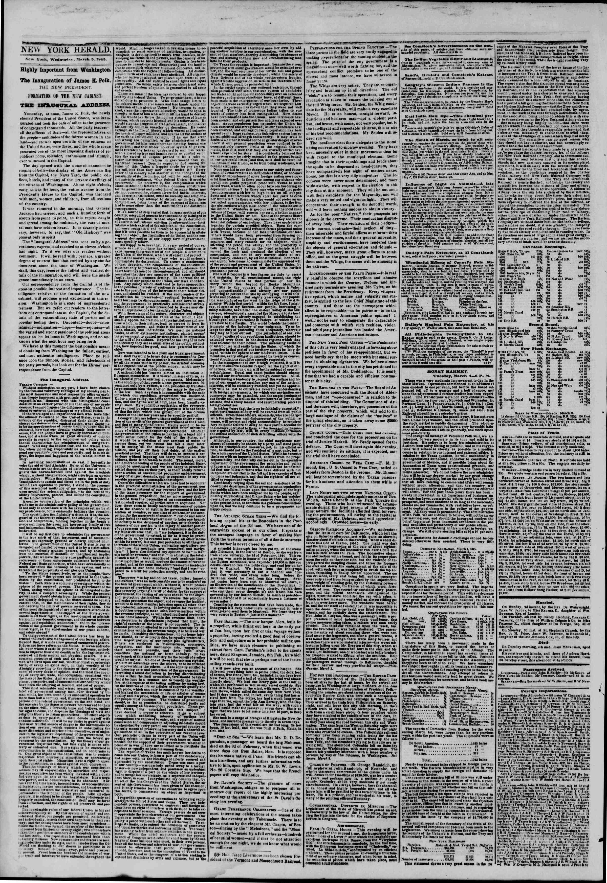 Newspaper of The New York Herald dated March 5, 1845 Page 2