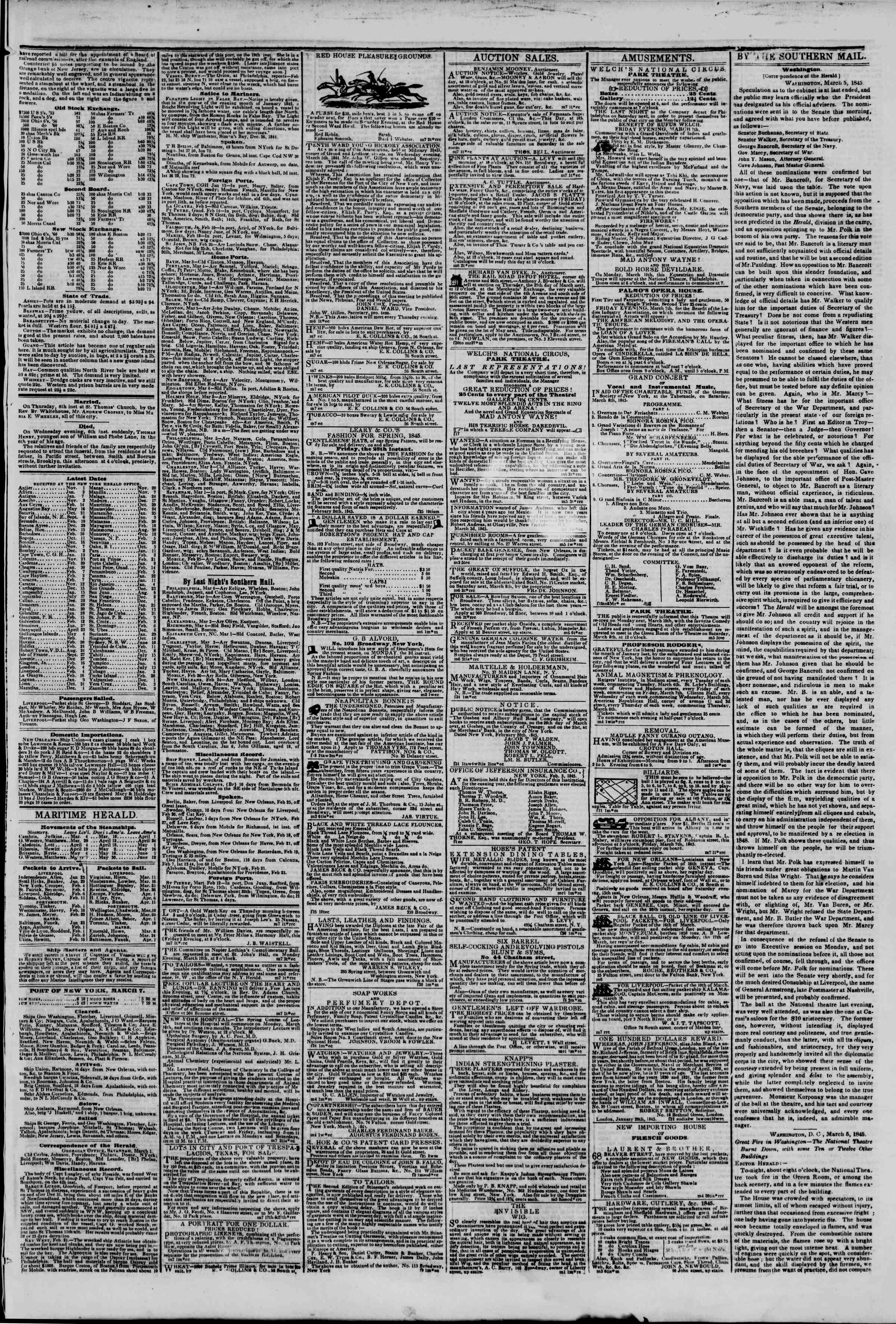 Newspaper of The New York Herald dated March 7, 1845 Page 3