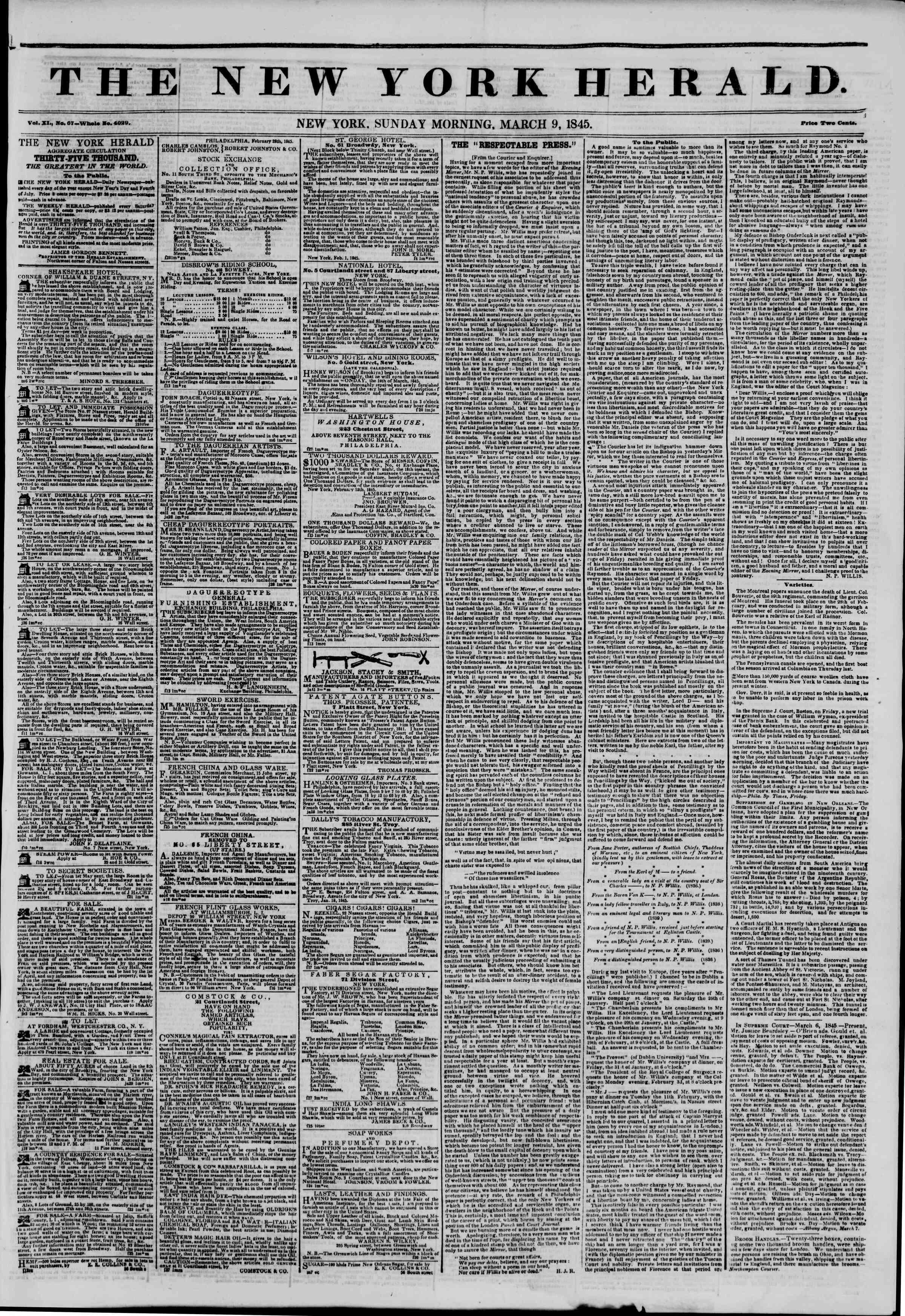 March 9, 1845 Tarihli The New York Herald Gazetesi Sayfa 1
