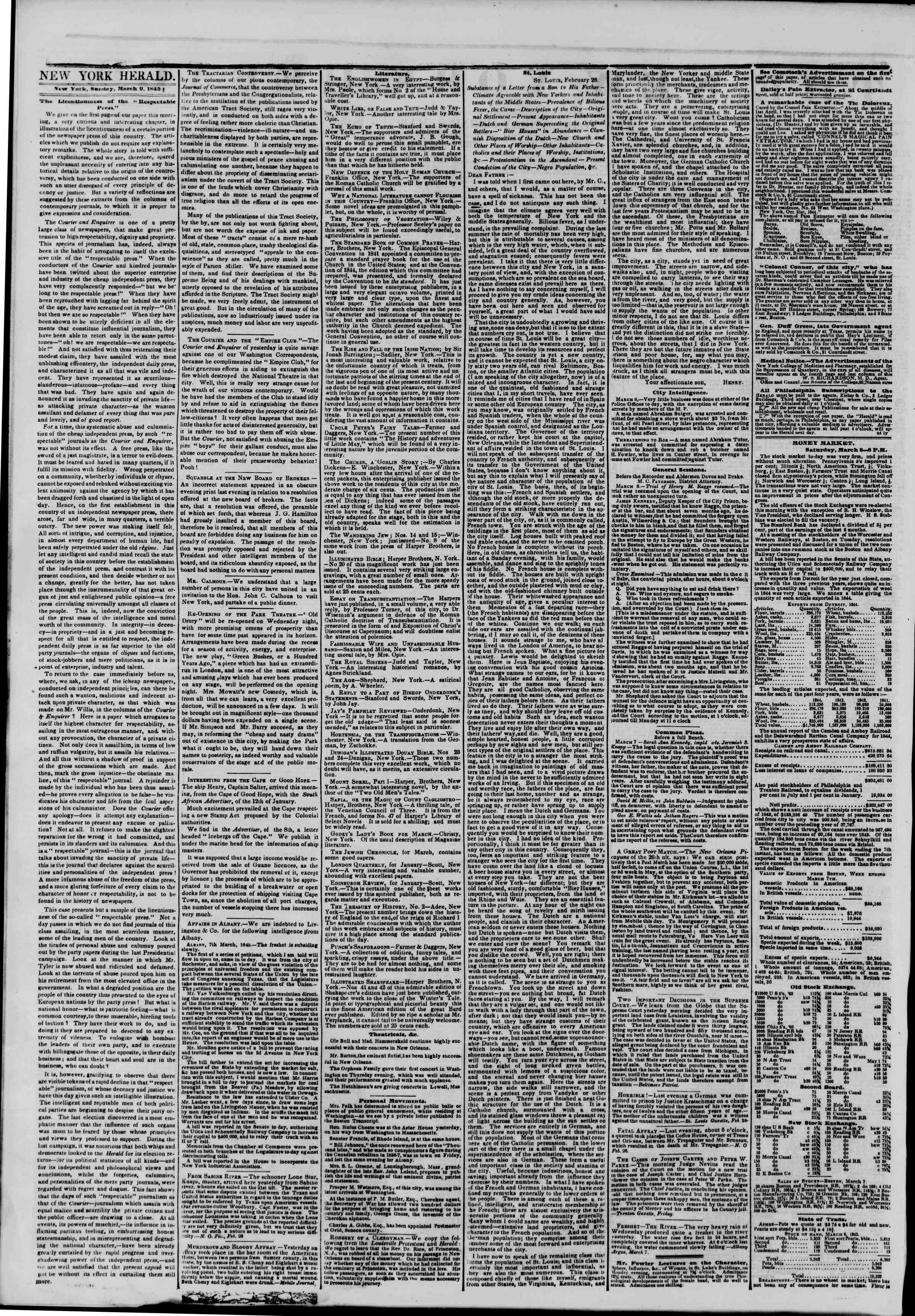 March 9, 1845 Tarihli The New York Herald Gazetesi Sayfa 2