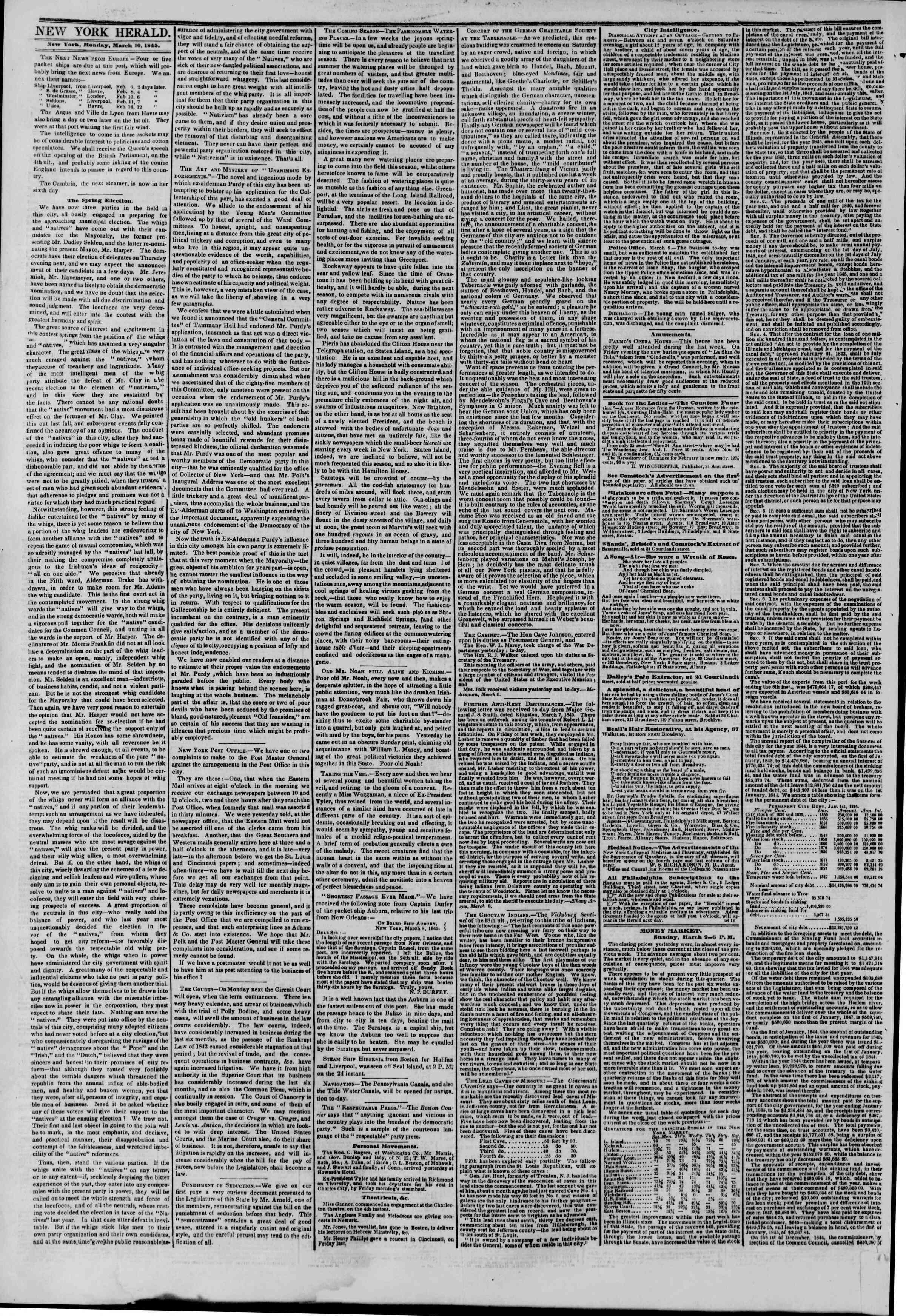 March 10, 1845 Tarihli The New York Herald Gazetesi Sayfa 2