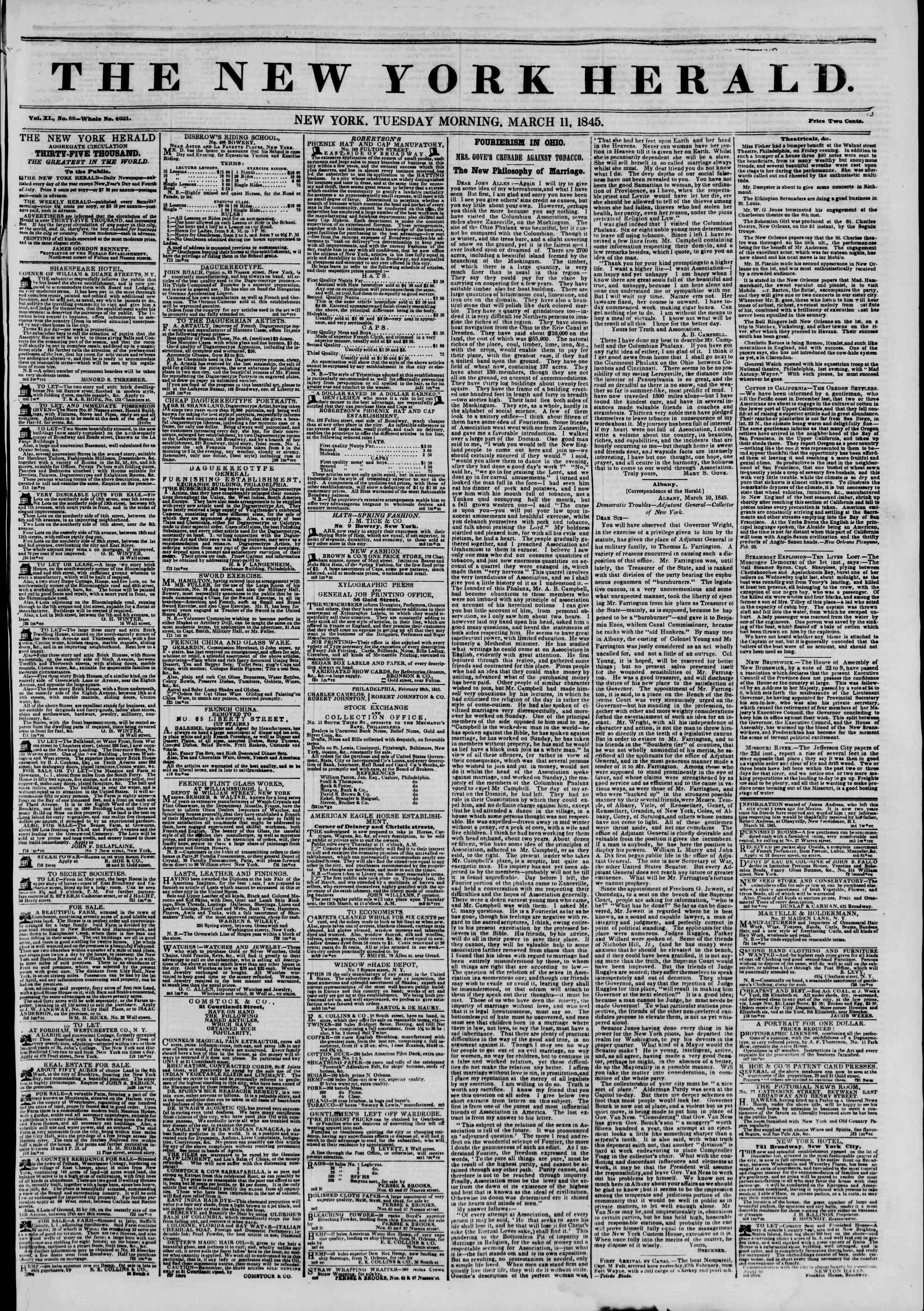March 11, 1845 Tarihli The New York Herald Gazetesi Sayfa 1