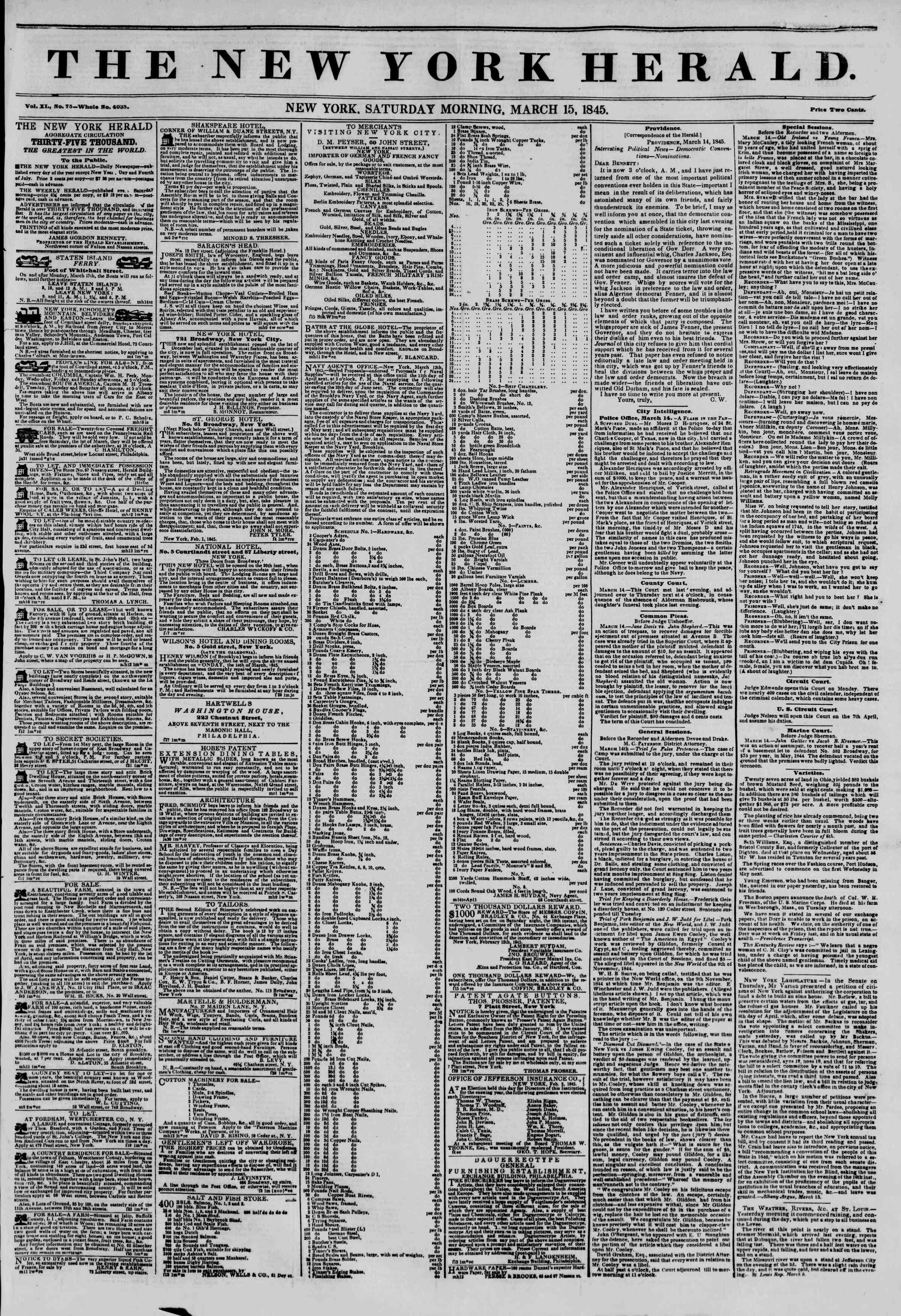 Newspaper of The New York Herald dated March 15, 1845 Page 1