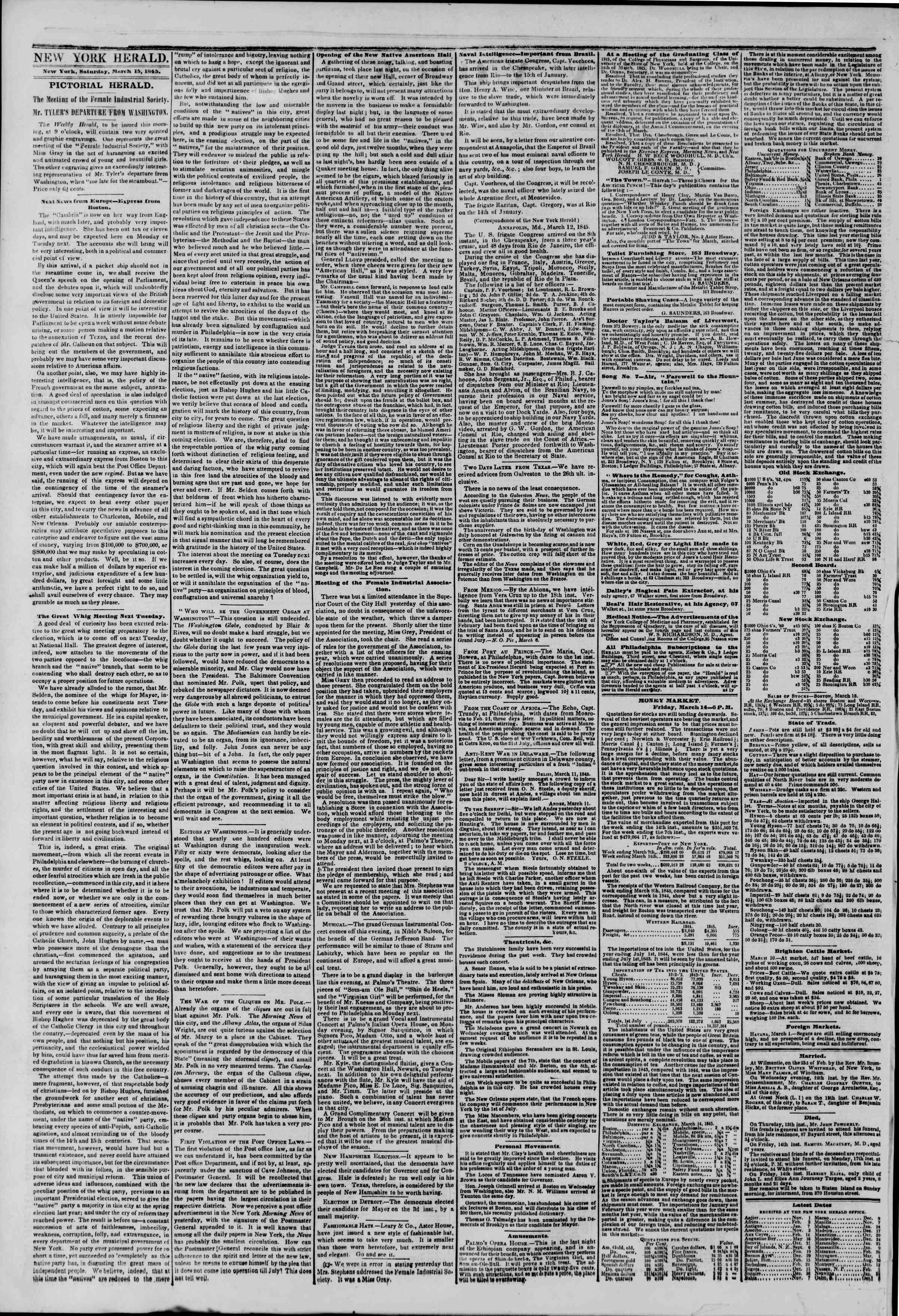 March 15, 1845 Tarihli The New York Herald Gazetesi Sayfa 2