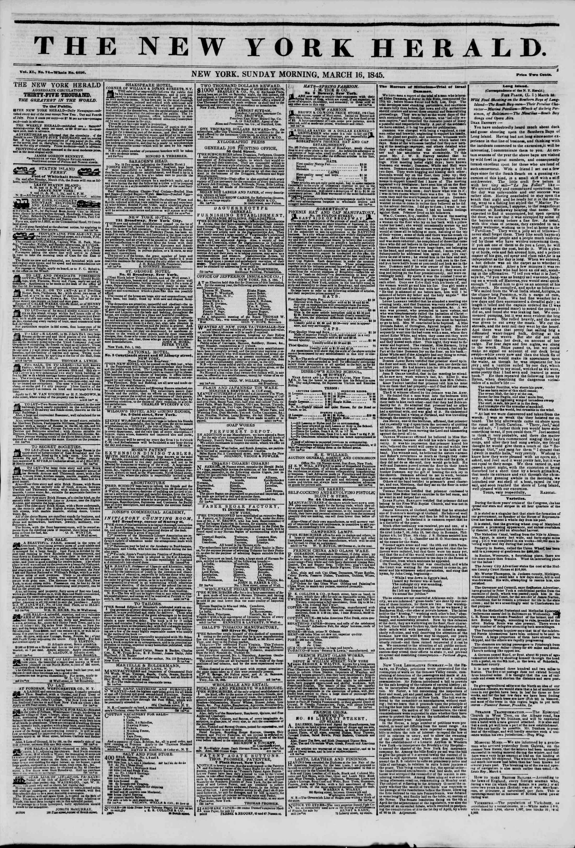 March 16, 1845 Tarihli The New York Herald Gazetesi Sayfa 1
