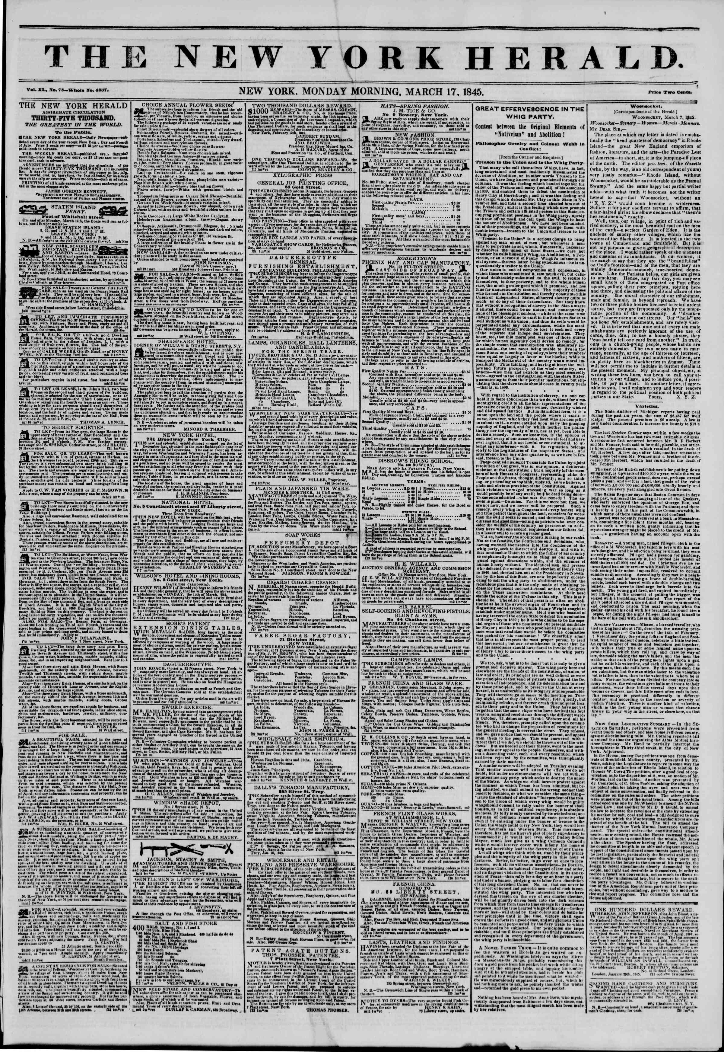 Newspaper of The New York Herald dated March 17, 1845 Page 1