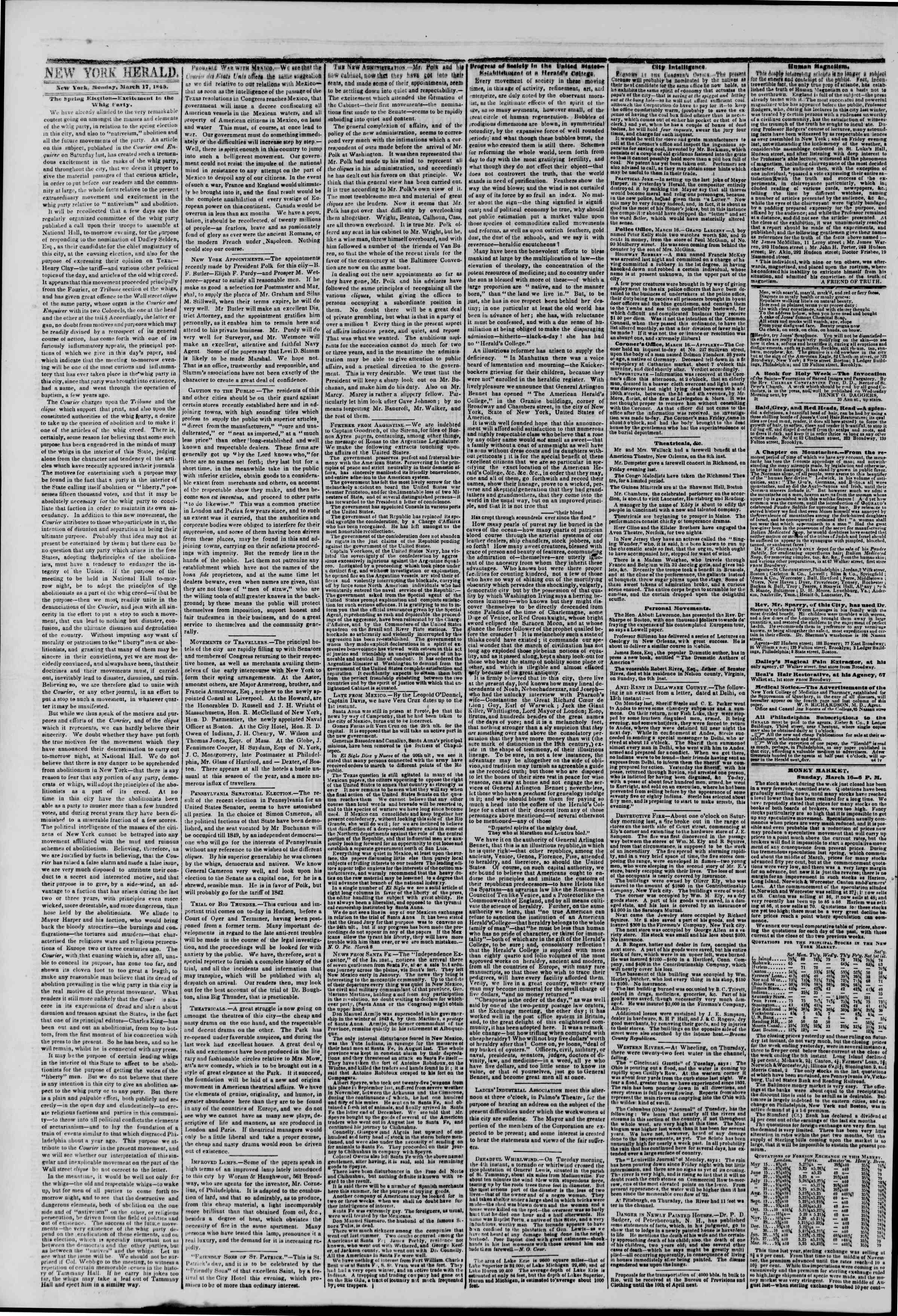 March 17, 1845 Tarihli The New York Herald Gazetesi Sayfa 2