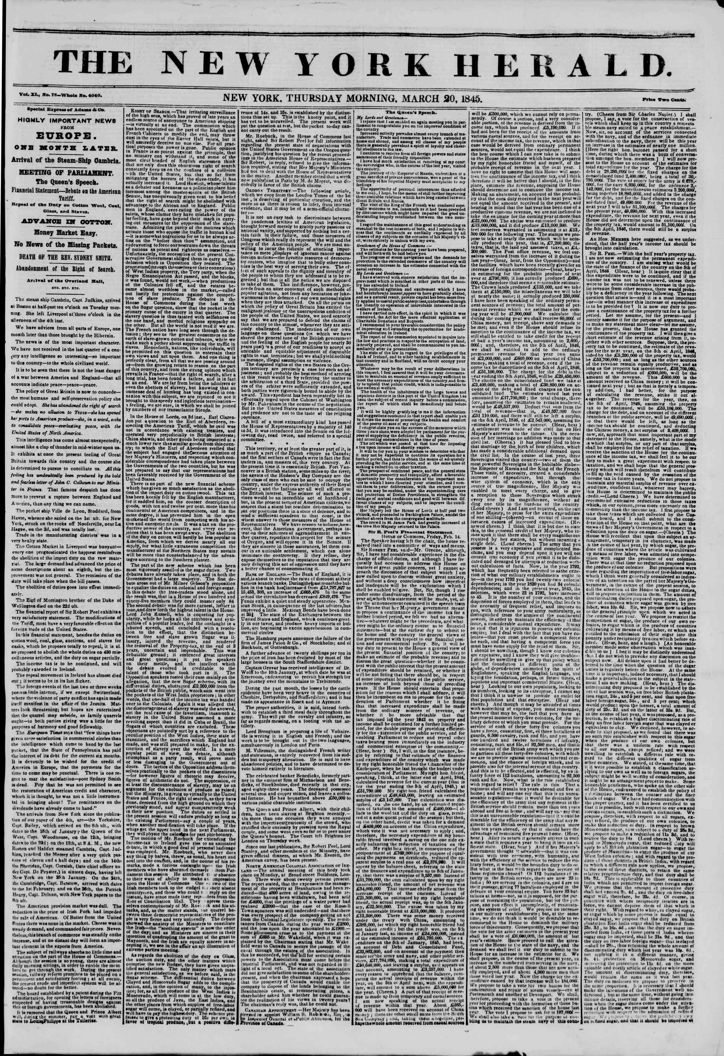 March 20, 1845 Tarihli The New York Herald Gazetesi Sayfa 1