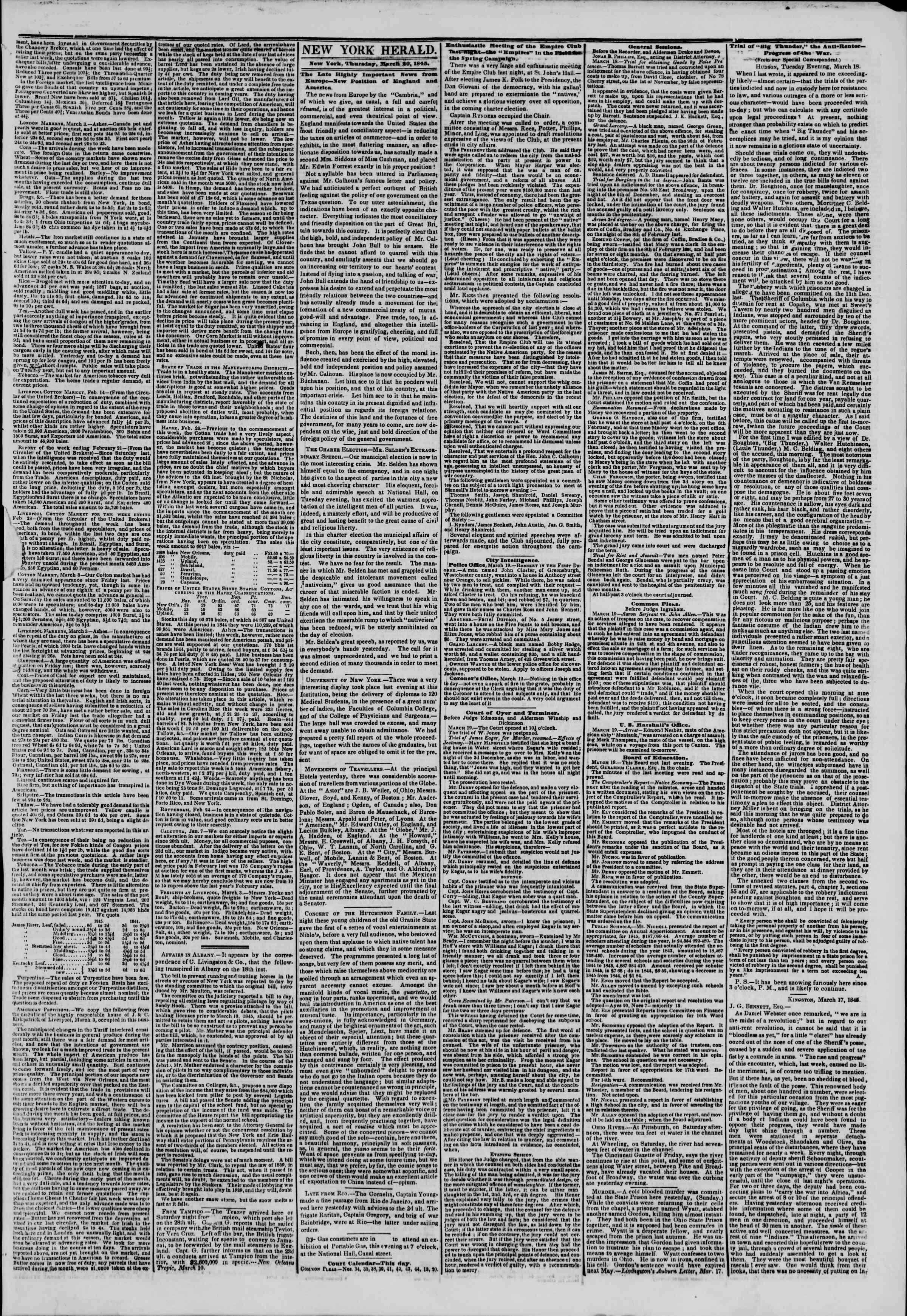 20 Mart 1845 tarihli The New York Herald Gazetesi Sayfa 3