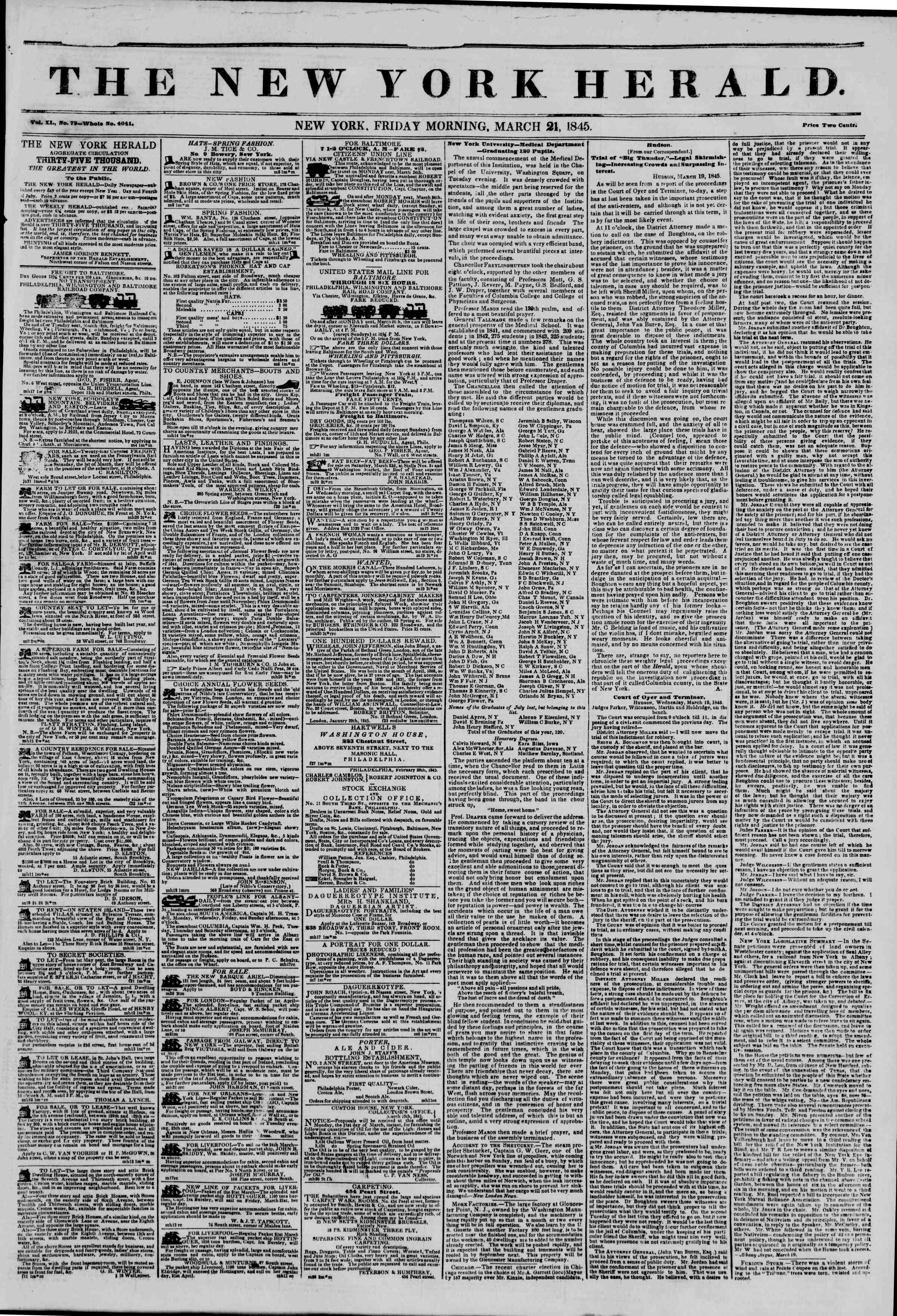 Newspaper of The New York Herald dated March 21, 1845 Page 1