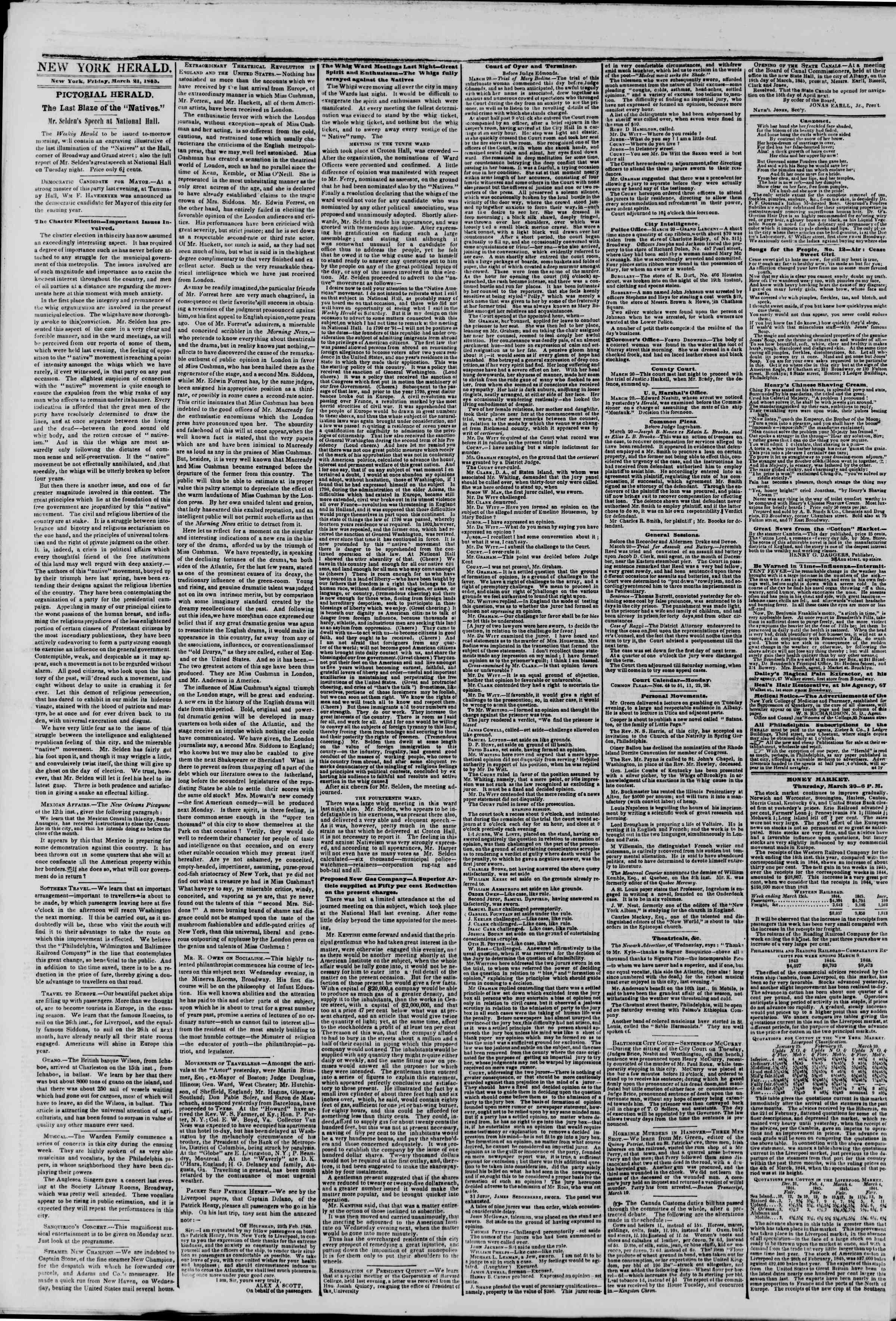 March 21, 1845 Tarihli The New York Herald Gazetesi Sayfa 2