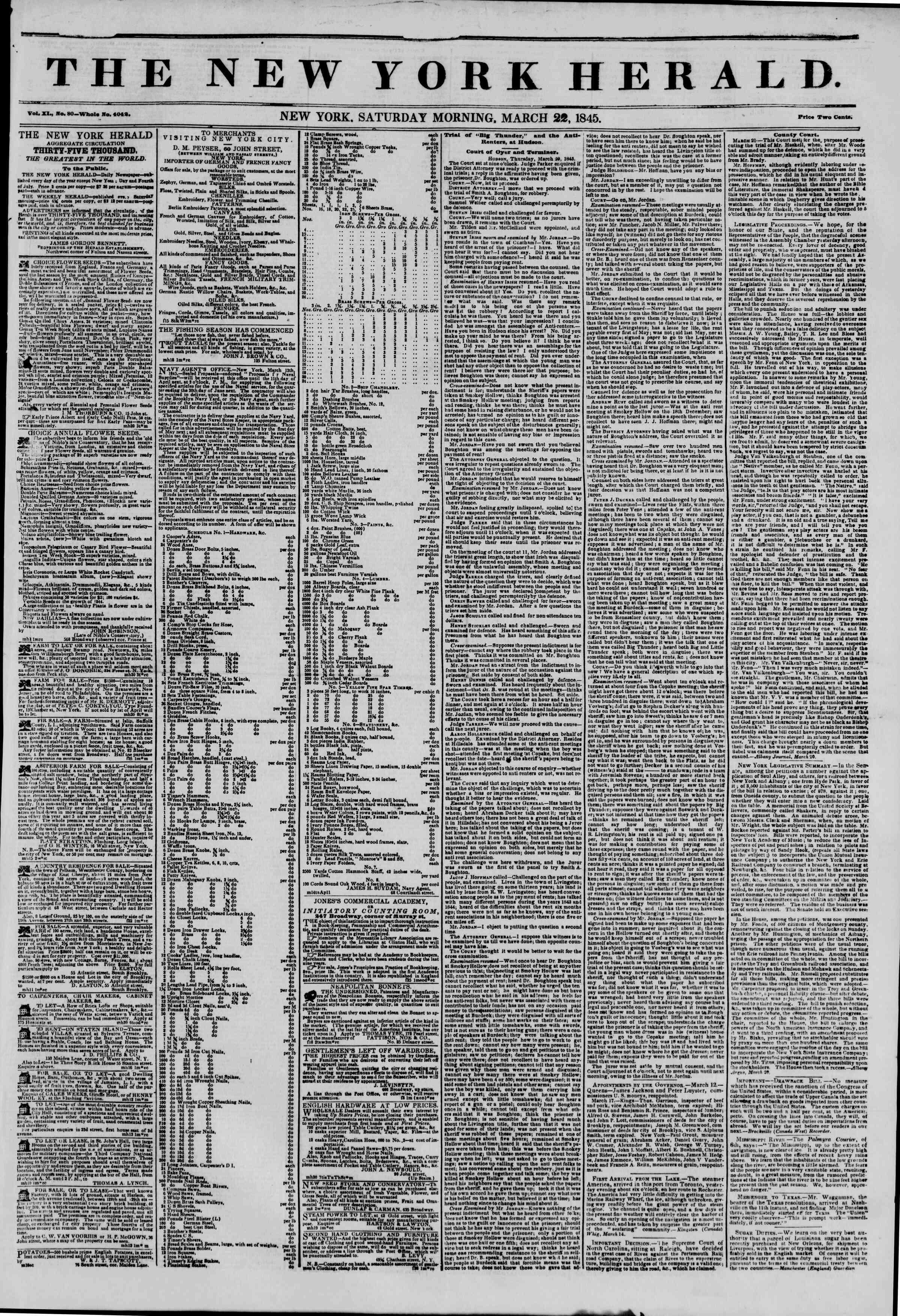 March 22, 1845 Tarihli The New York Herald Gazetesi Sayfa 1