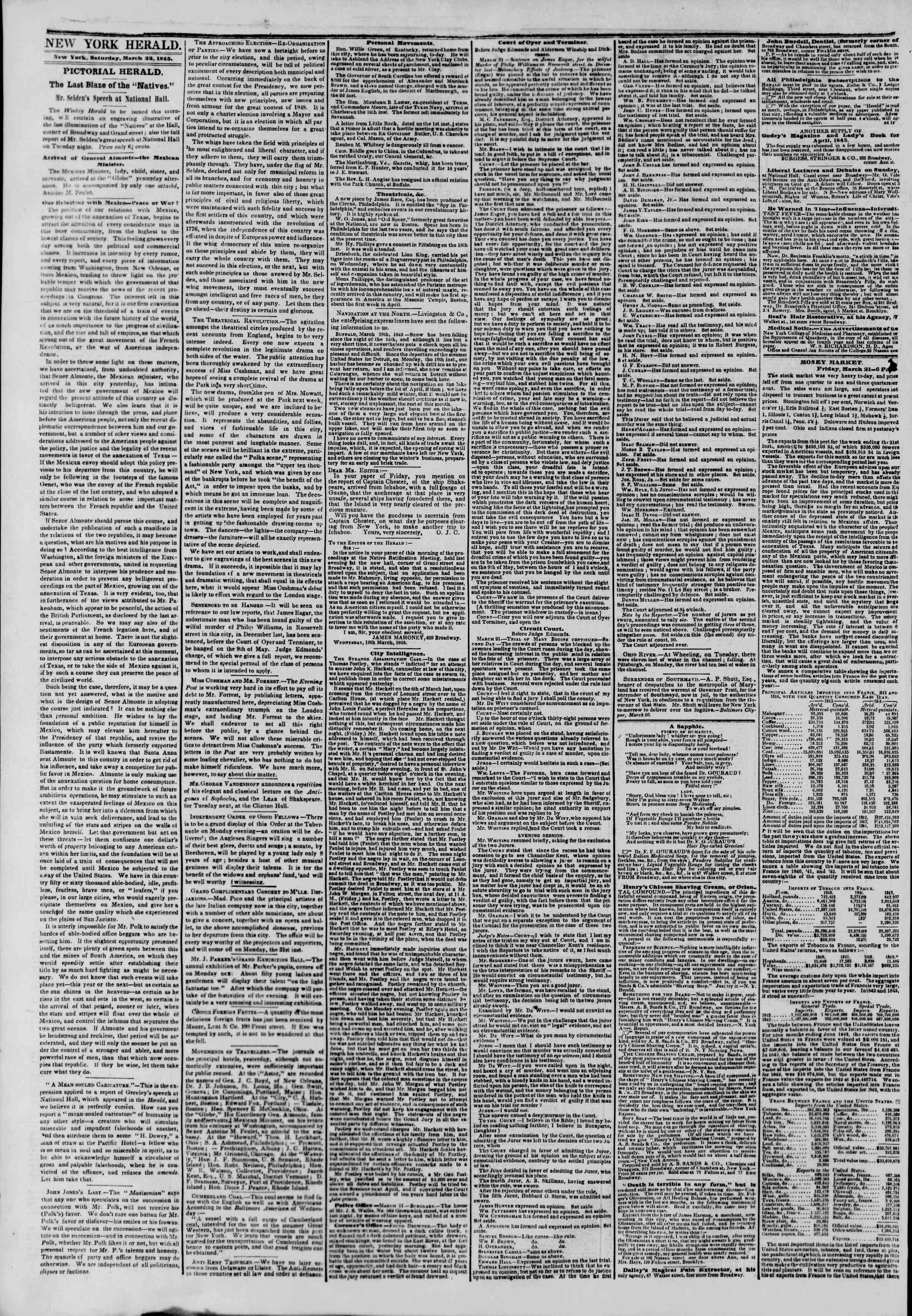 Newspaper of The New York Herald dated March 22, 1845 Page 2