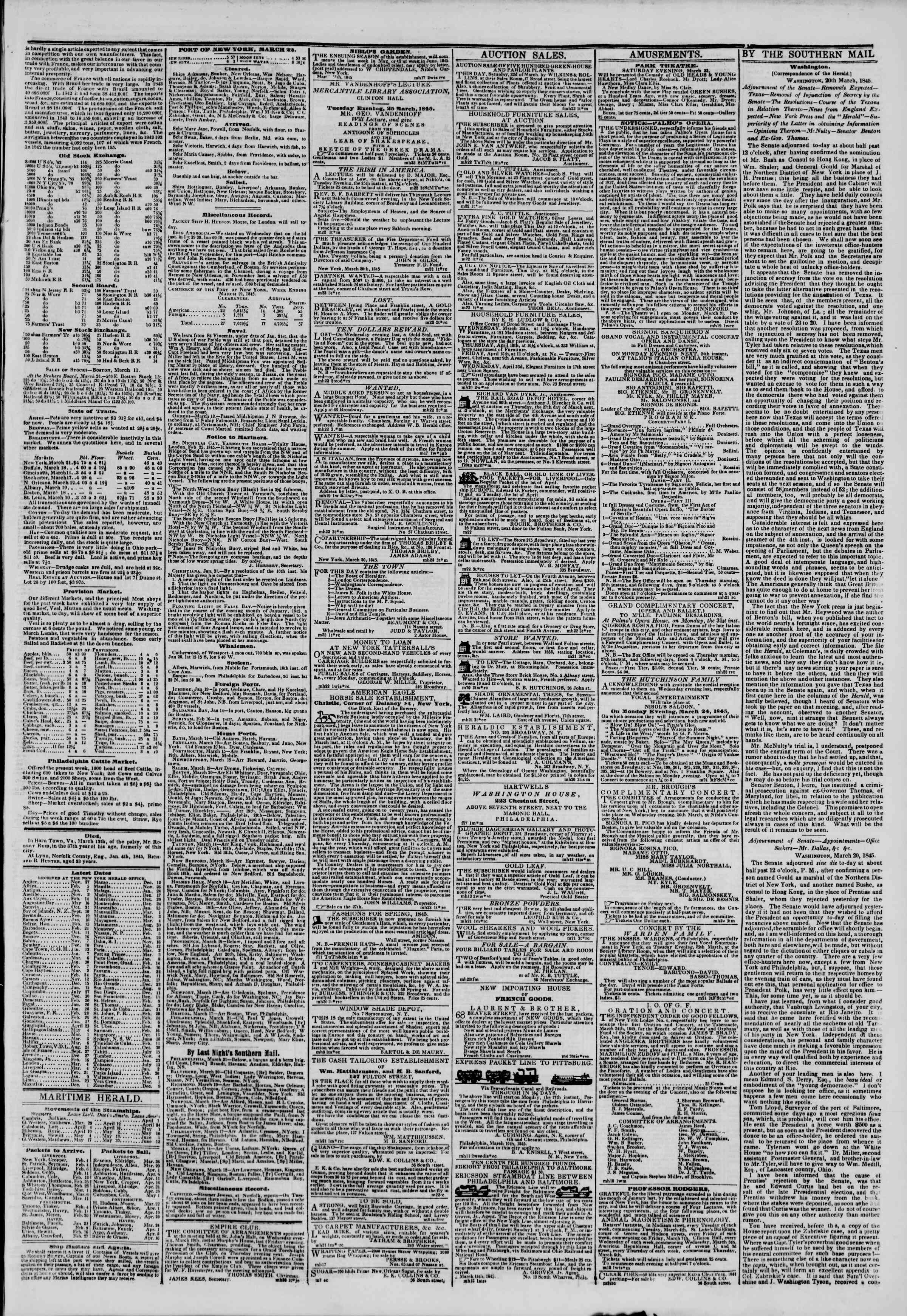 Newspaper of The New York Herald dated March 22, 1845 Page 3
