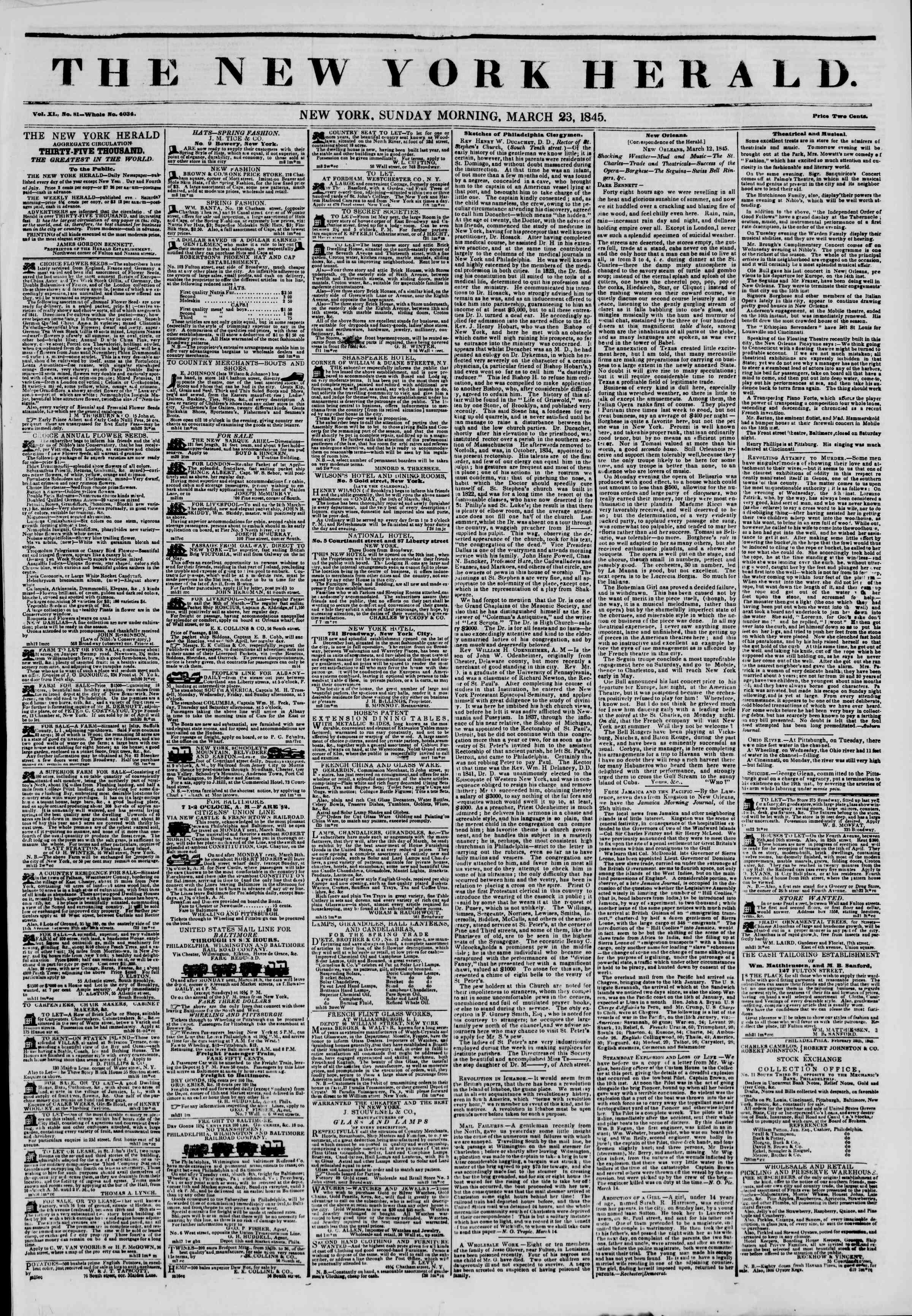 March 23, 1845 Tarihli The New York Herald Gazetesi Sayfa 1