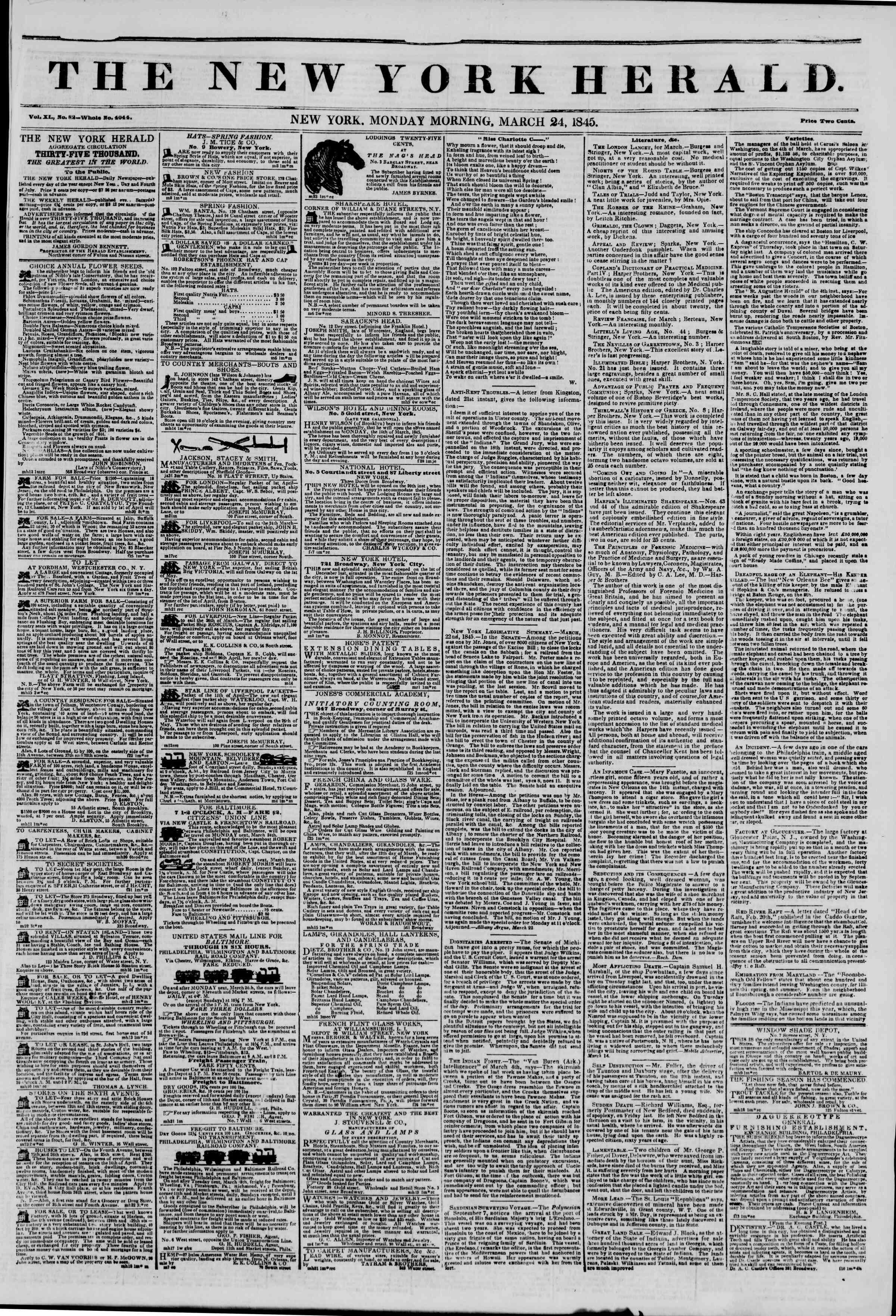 March 24, 1845 Tarihli The New York Herald Gazetesi Sayfa 1