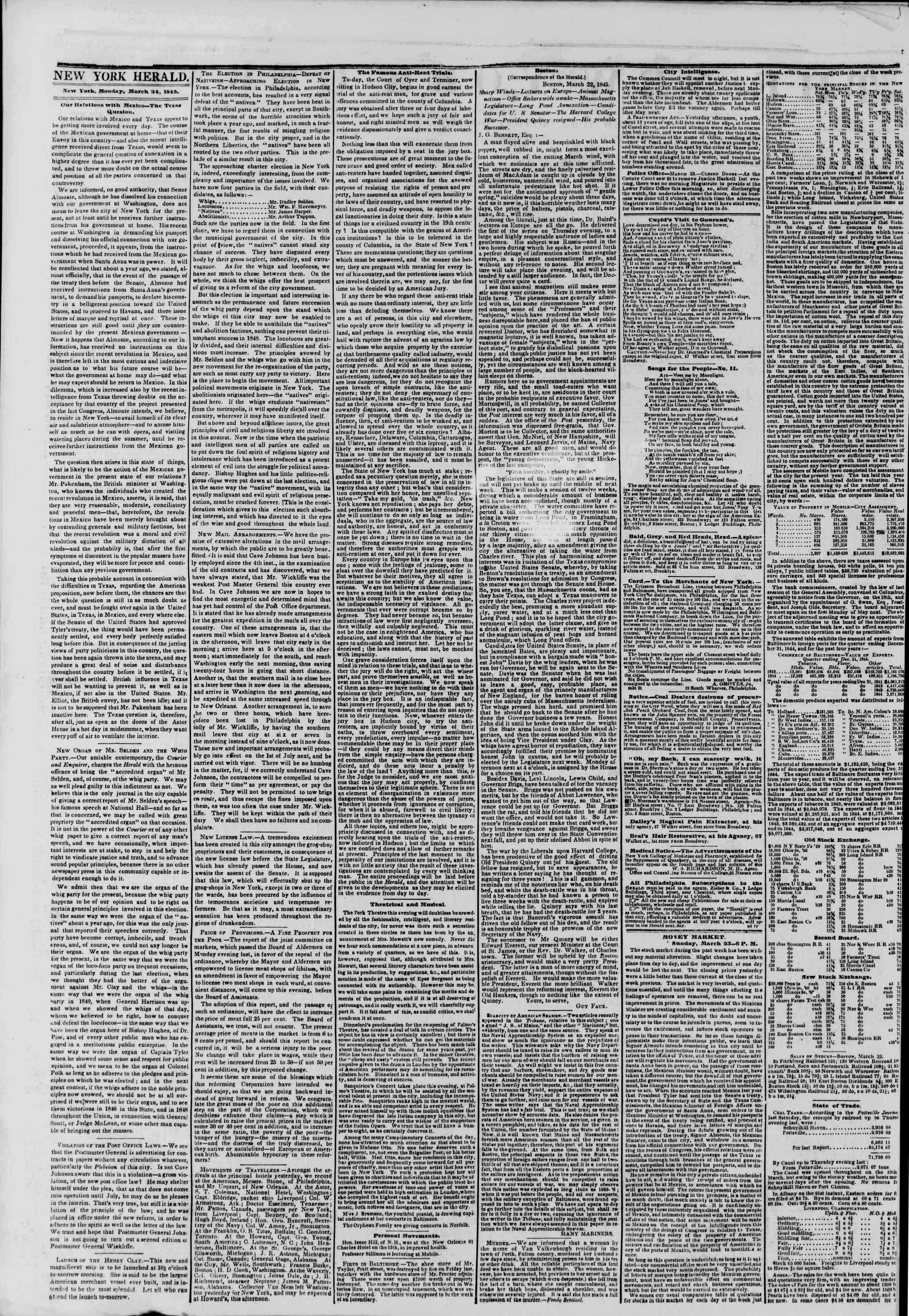 March 24, 1845 Tarihli The New York Herald Gazetesi Sayfa 2
