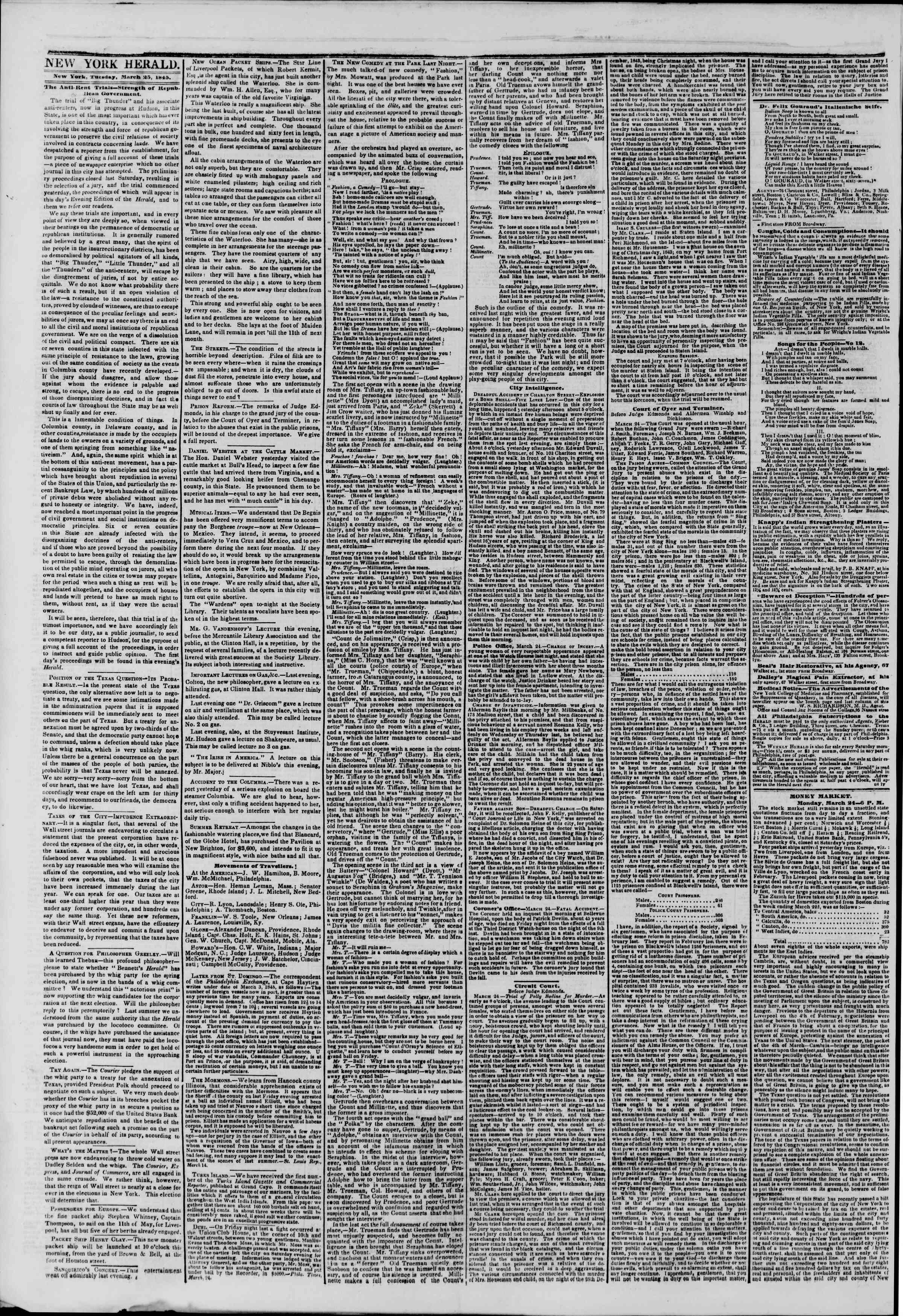 March 25, 1845 Tarihli The New York Herald Gazetesi Sayfa 2