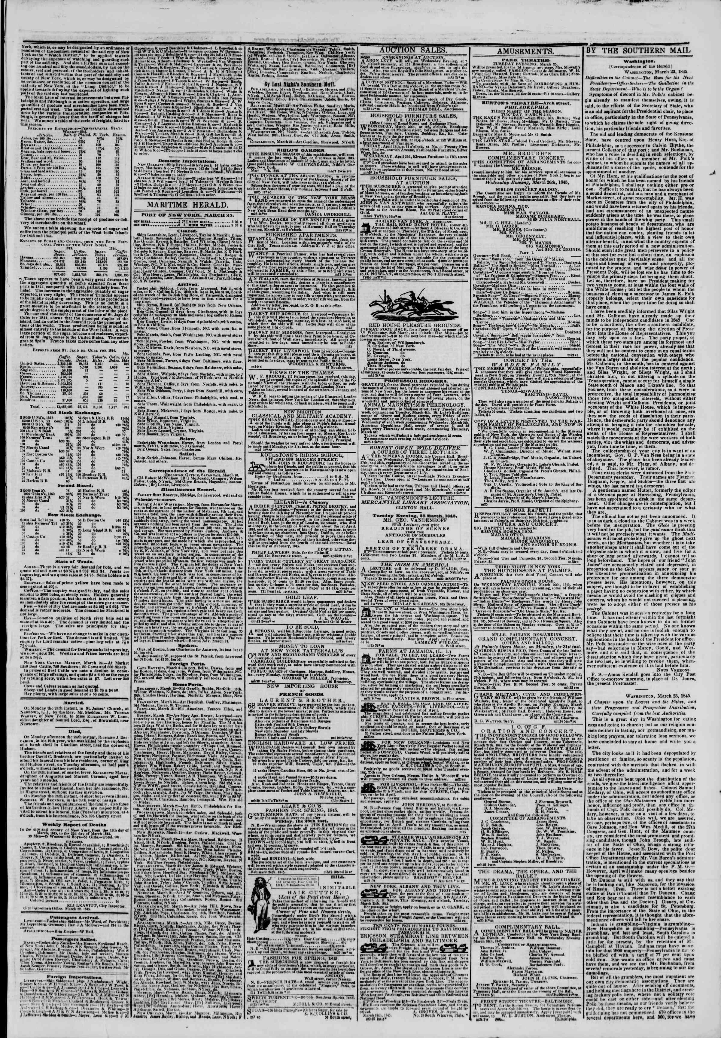 March 25, 1845 Tarihli The New York Herald Gazetesi Sayfa 3