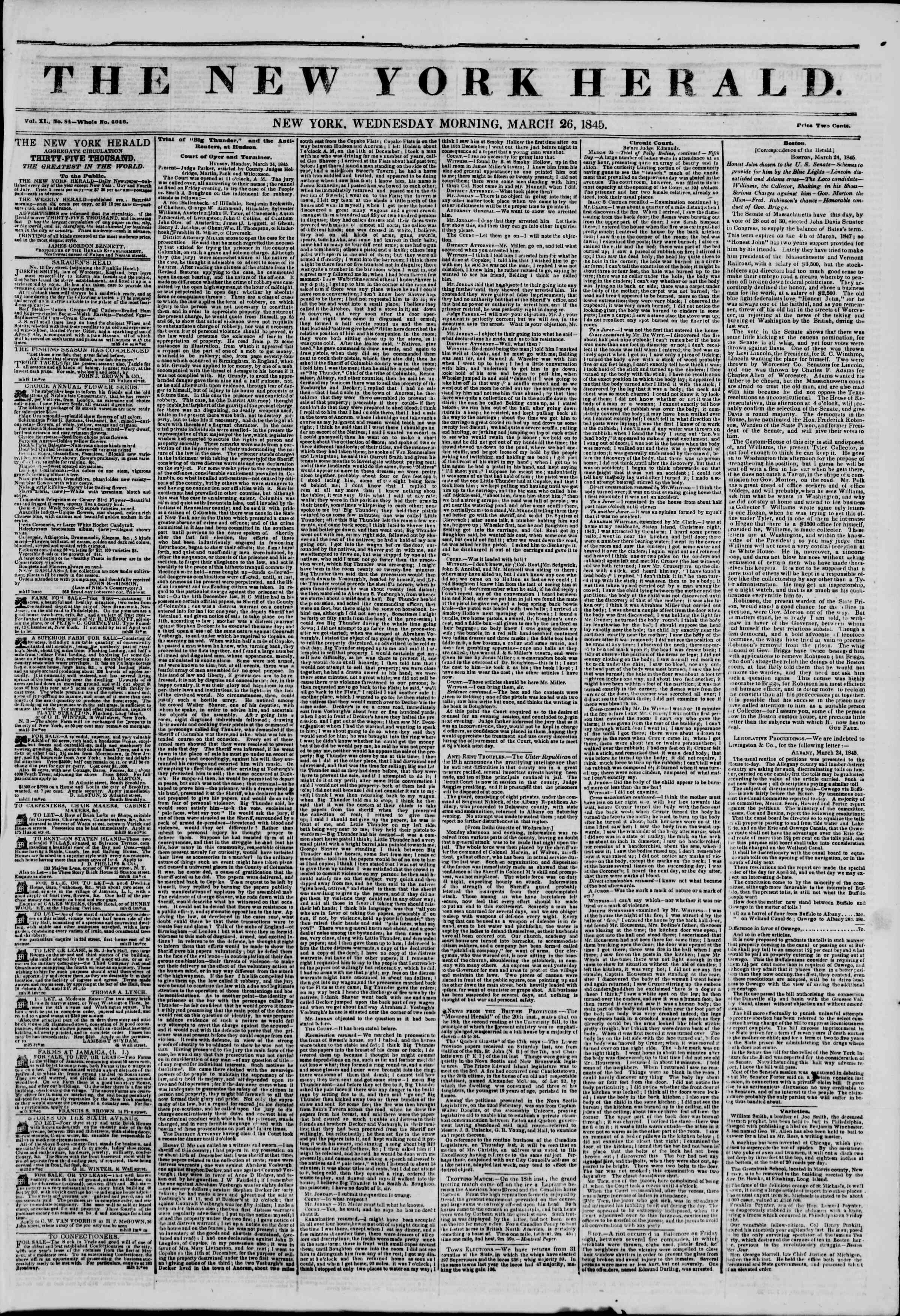 Newspaper of The New York Herald dated March 26, 1845 Page 1