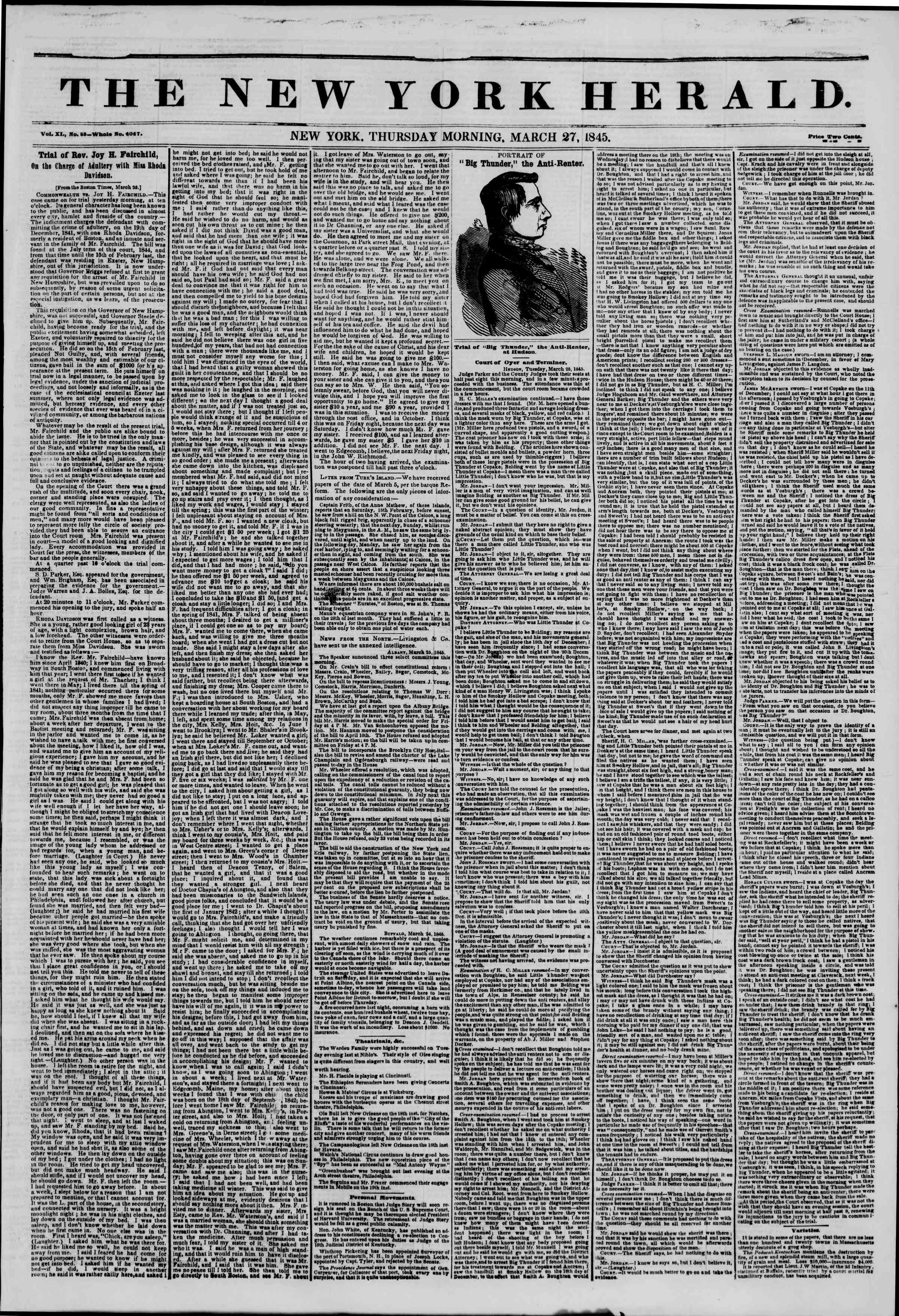 Newspaper of The New York Herald dated March 27, 1845 Page 1