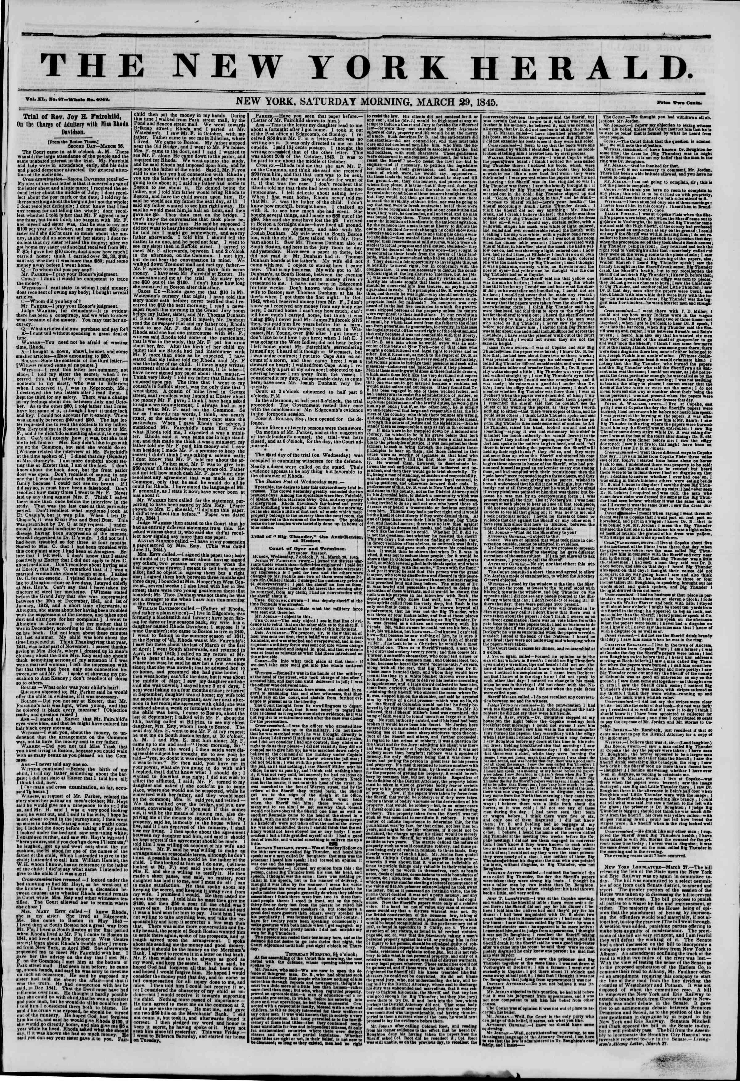 Newspaper of The New York Herald dated March 29, 1845 Page 1