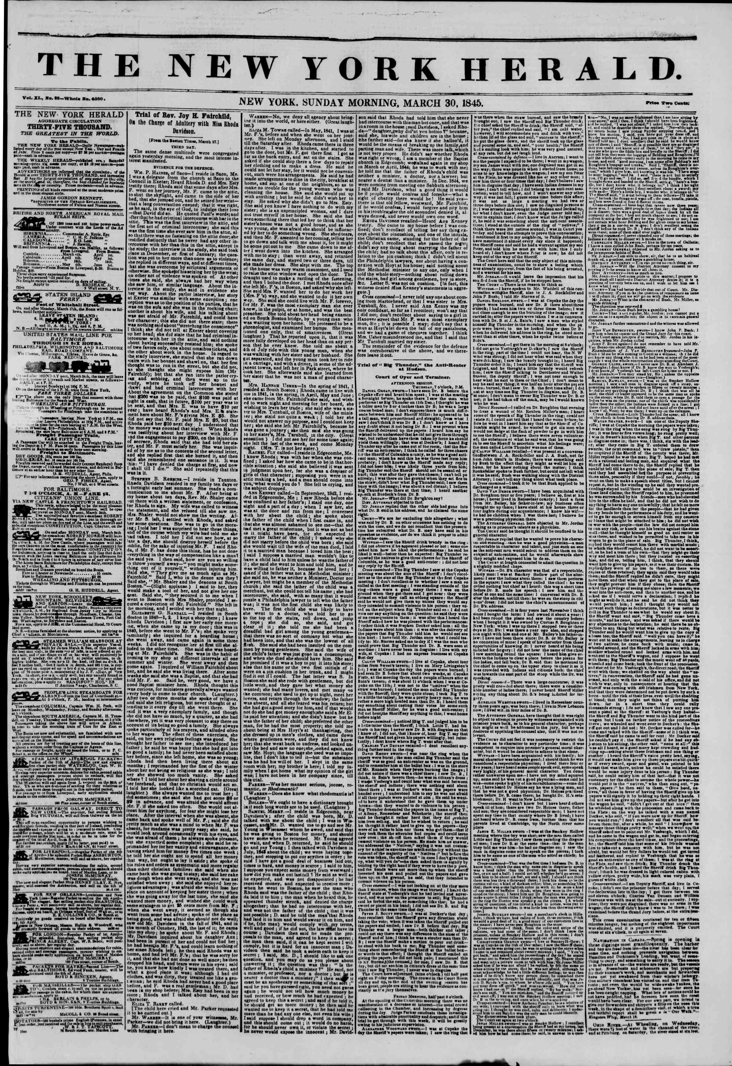March 30, 1845 Tarihli The New York Herald Gazetesi Sayfa 1