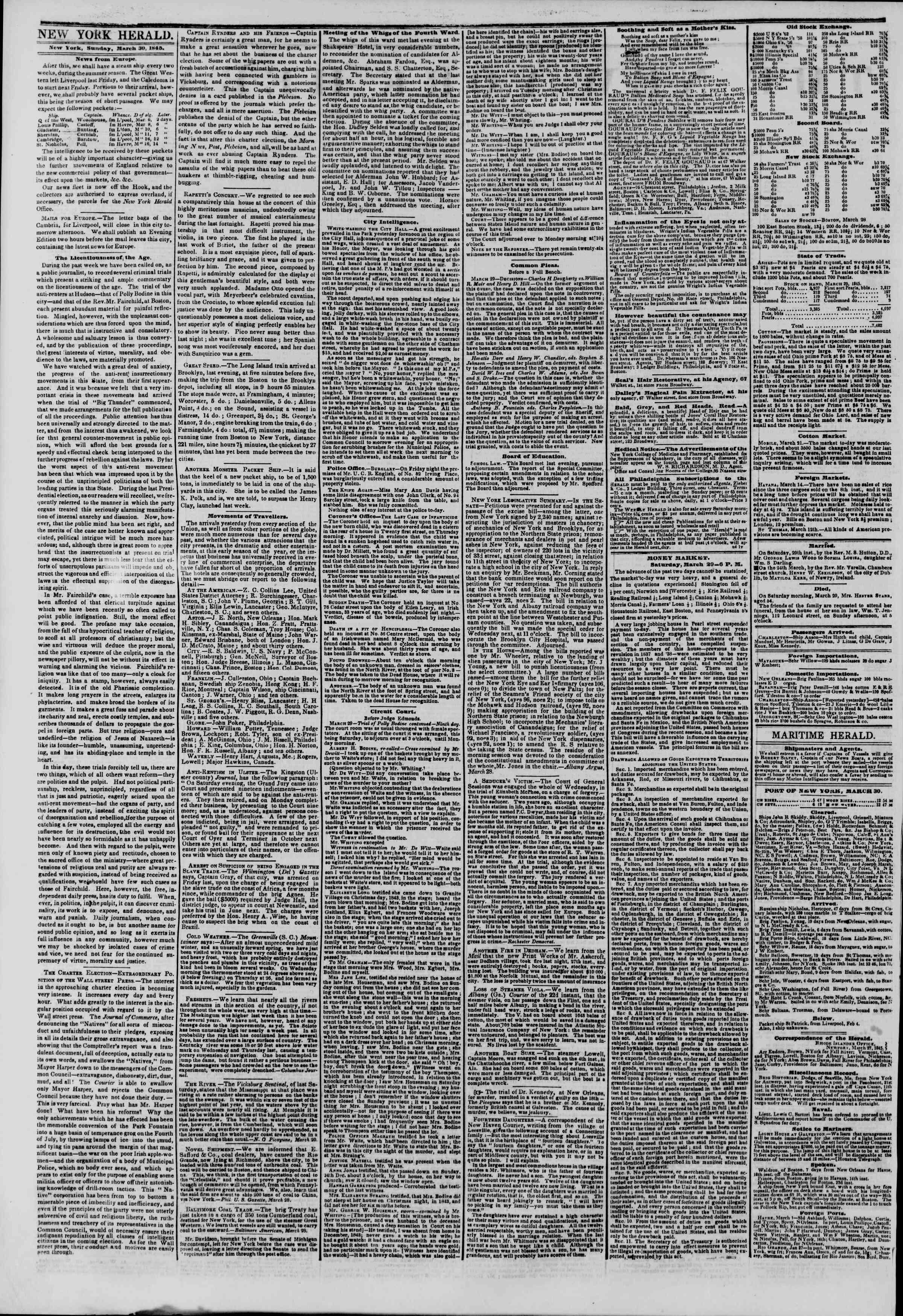 March 30, 1845 Tarihli The New York Herald Gazetesi Sayfa 2