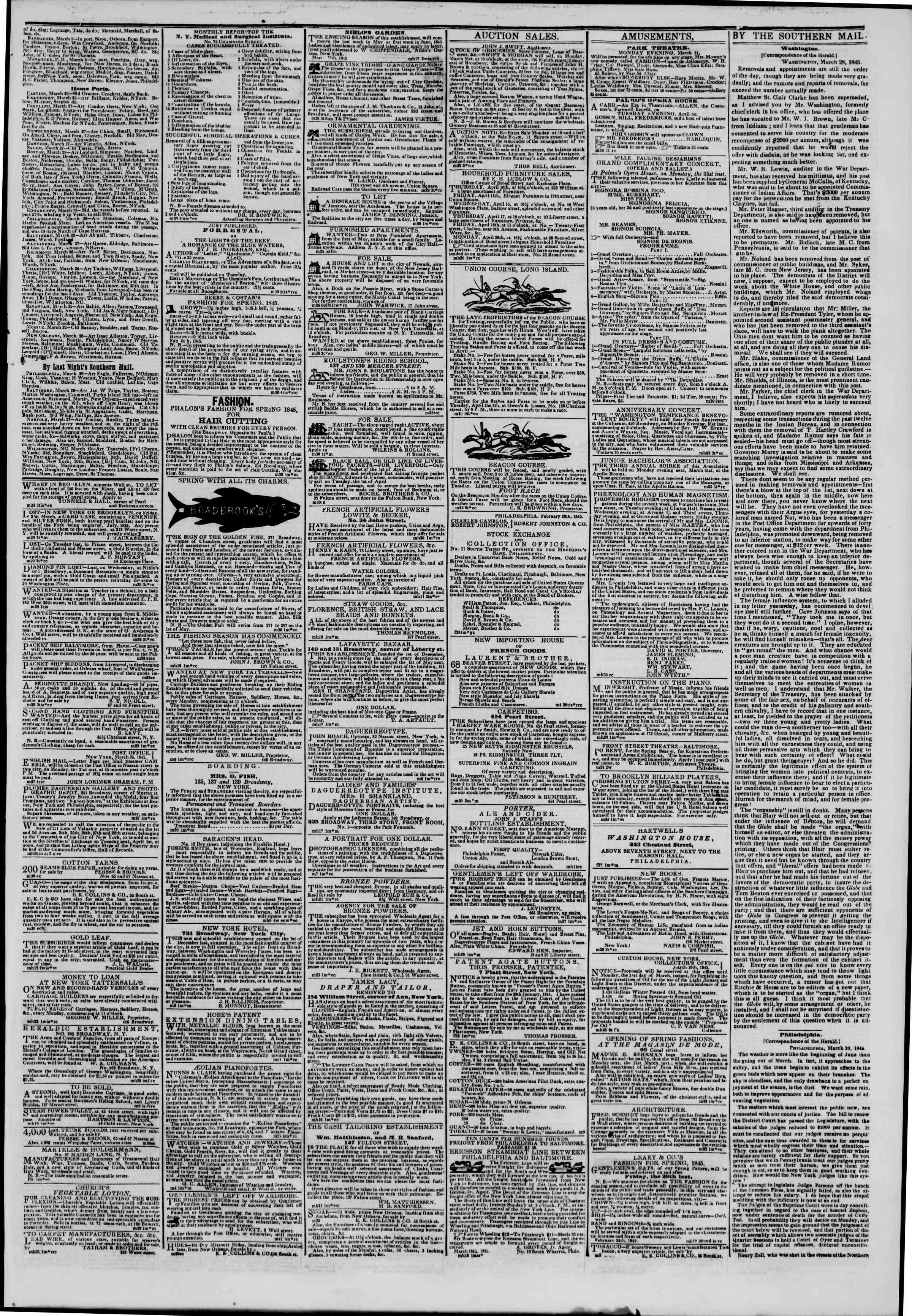 March 30, 1845 Tarihli The New York Herald Gazetesi Sayfa 3