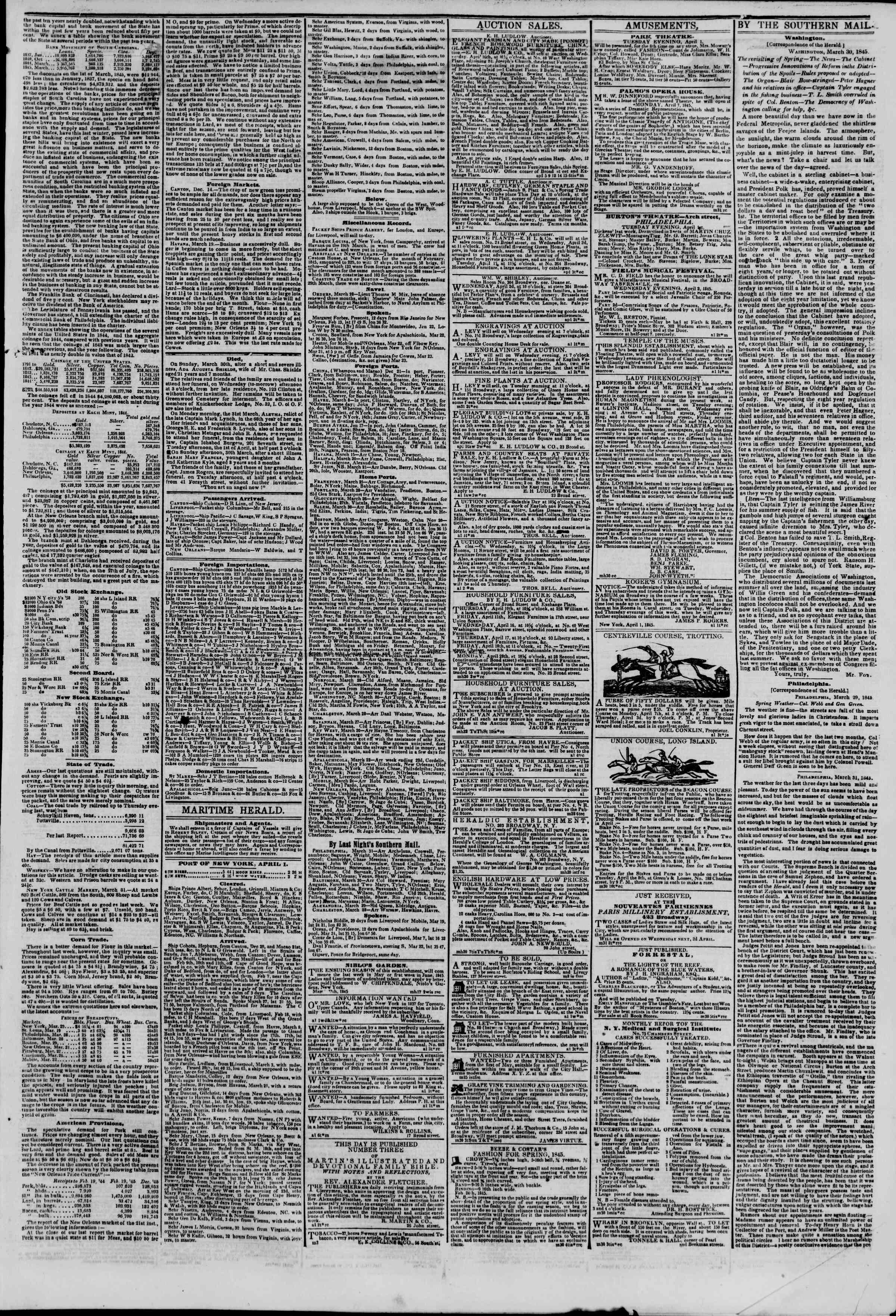 1 Nisan 1845 tarihli The New York Herald Gazetesi Sayfa 3