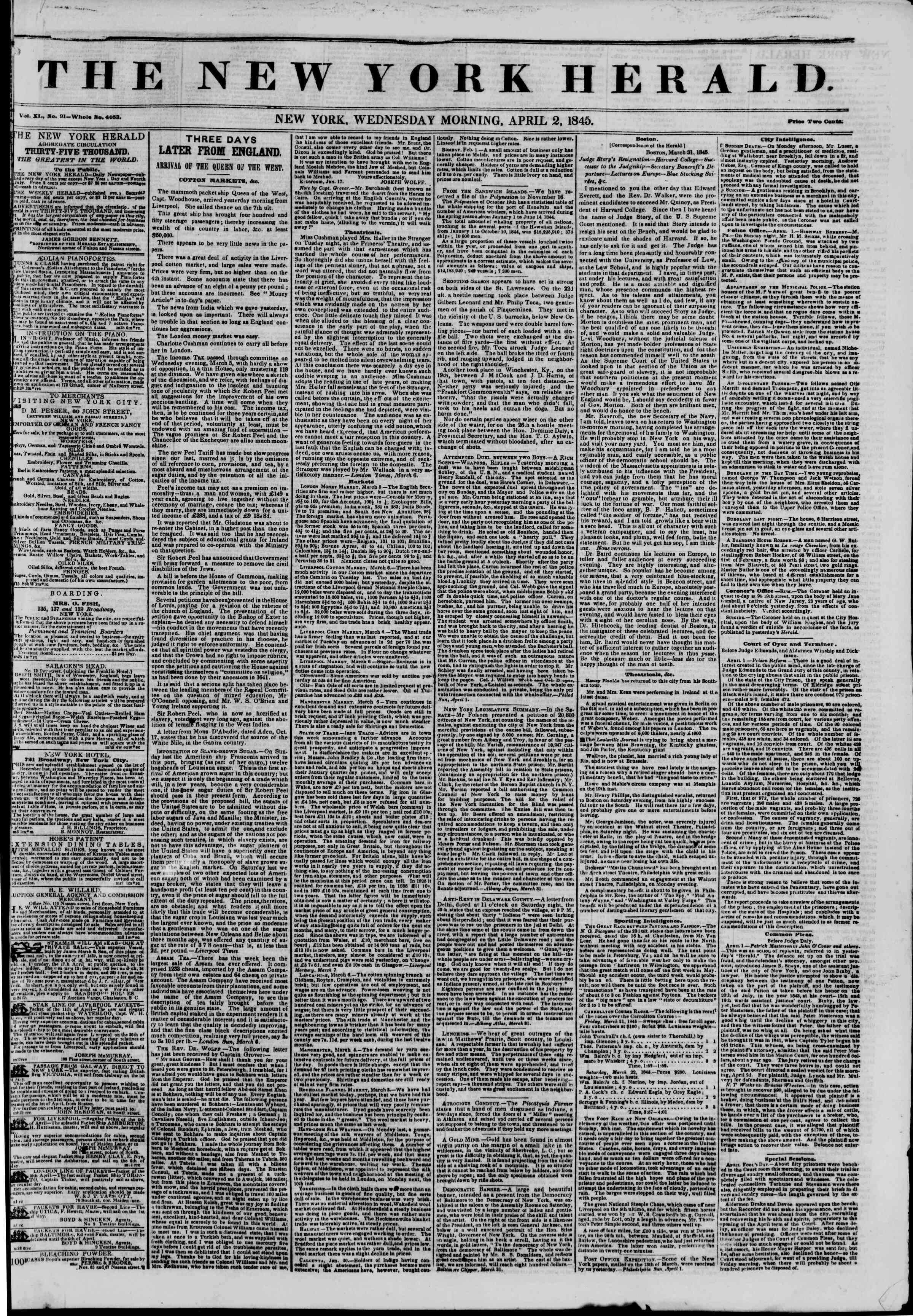 April 2, 1845 Tarihli The New York Herald Gazetesi Sayfa 1