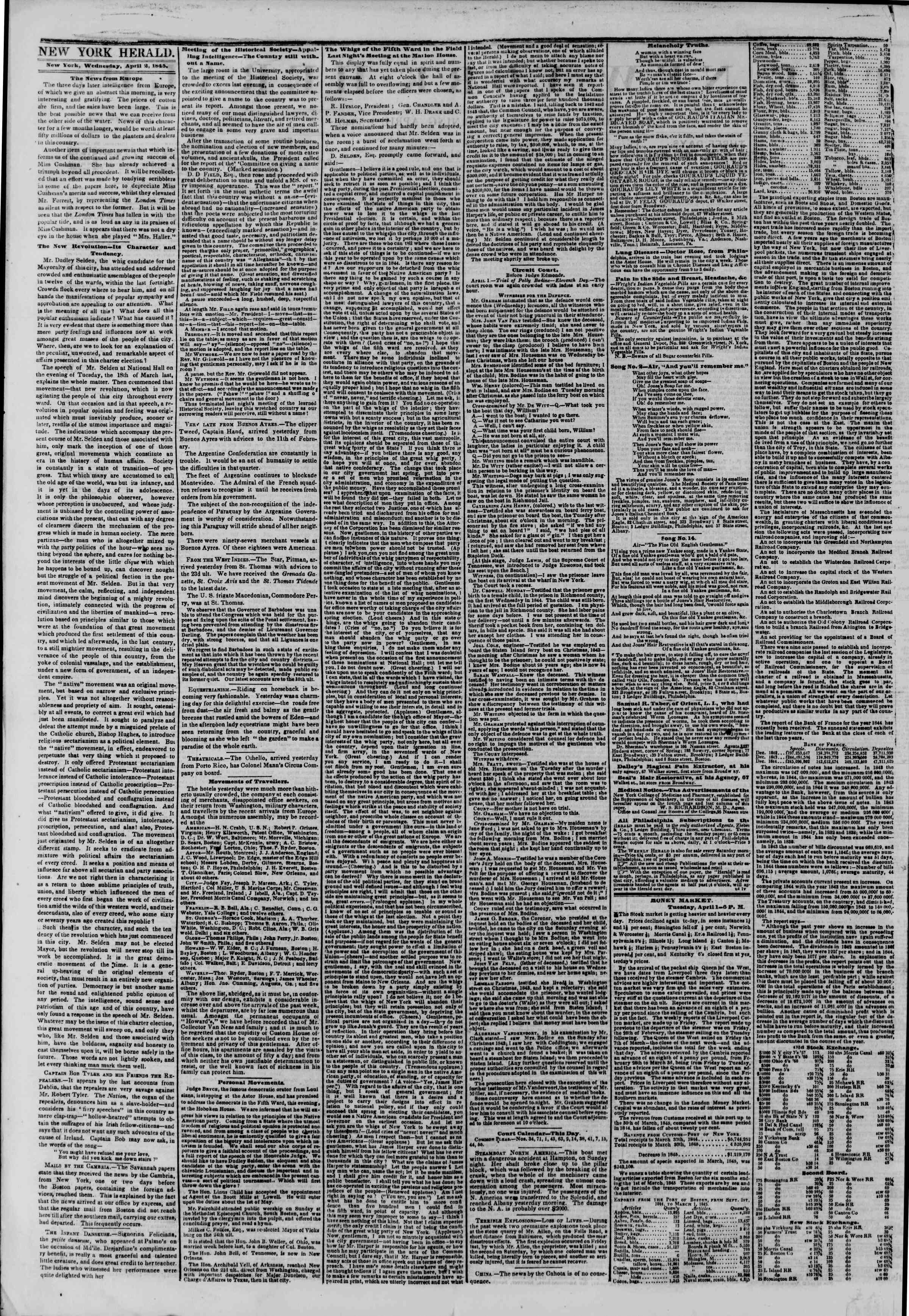 Newspaper of The New York Herald dated April 2, 1845 Page 2