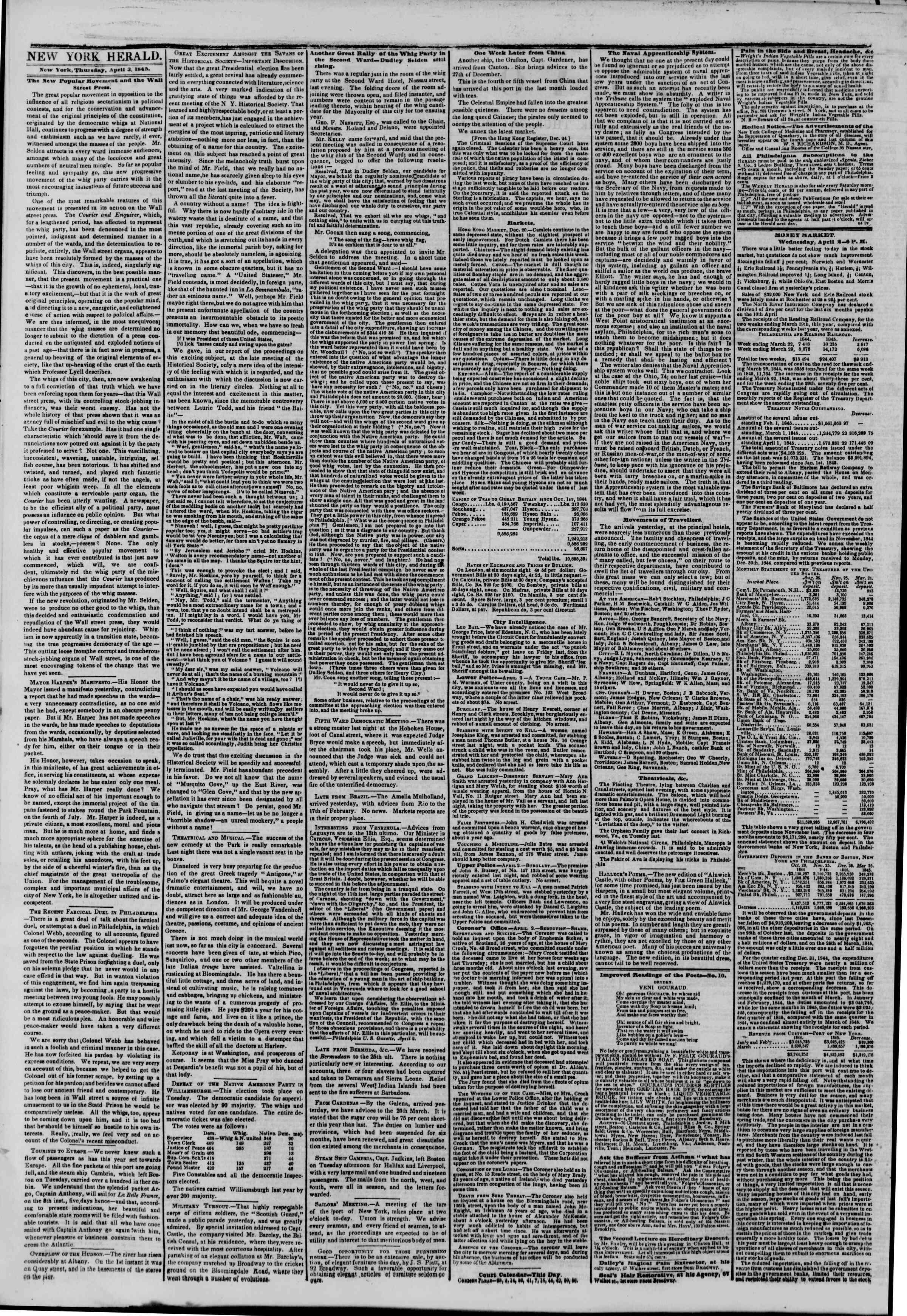 April 3, 1845 Tarihli The New York Herald Gazetesi Sayfa 2