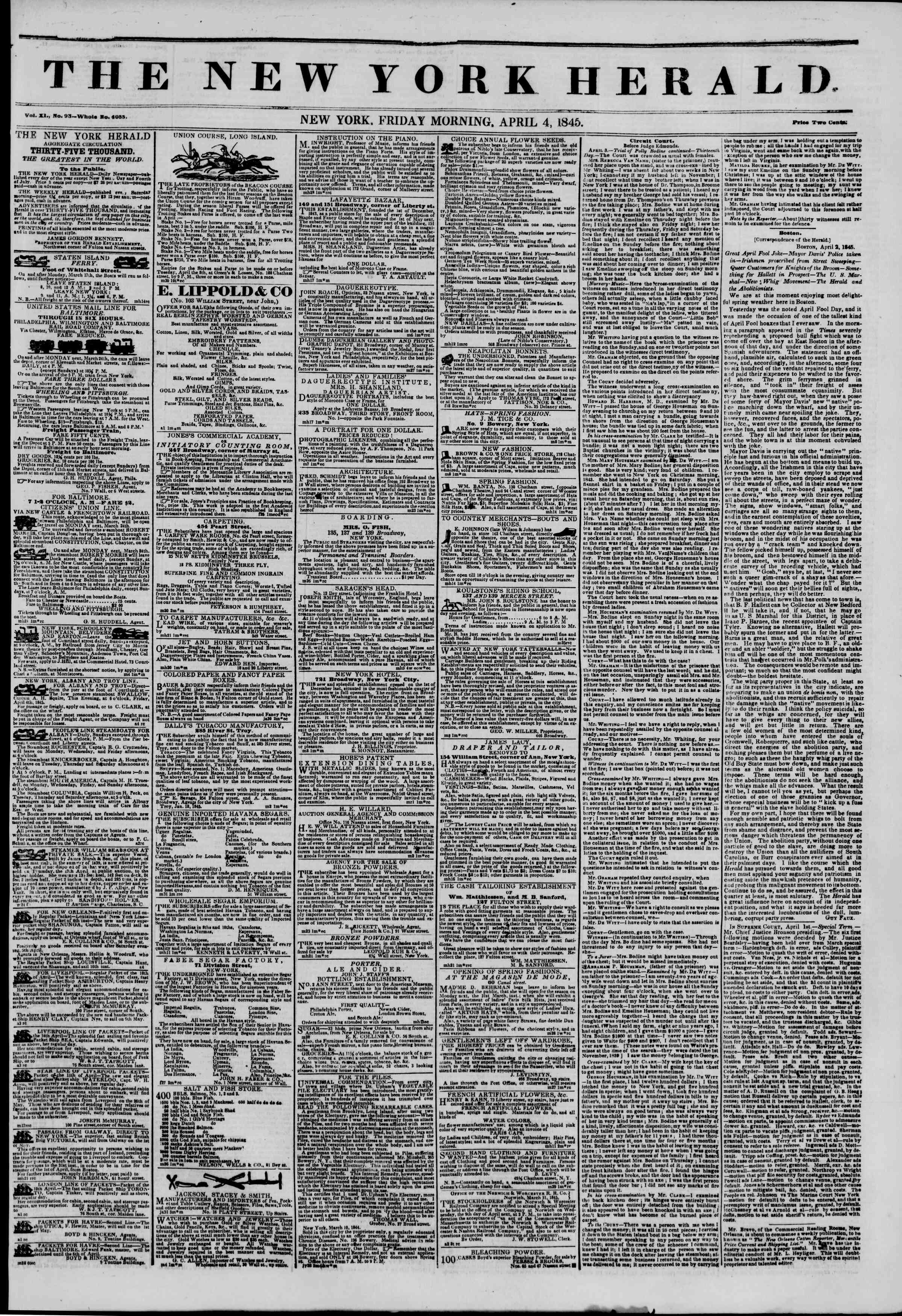 Newspaper of The New York Herald dated April 4, 1845 Page 1