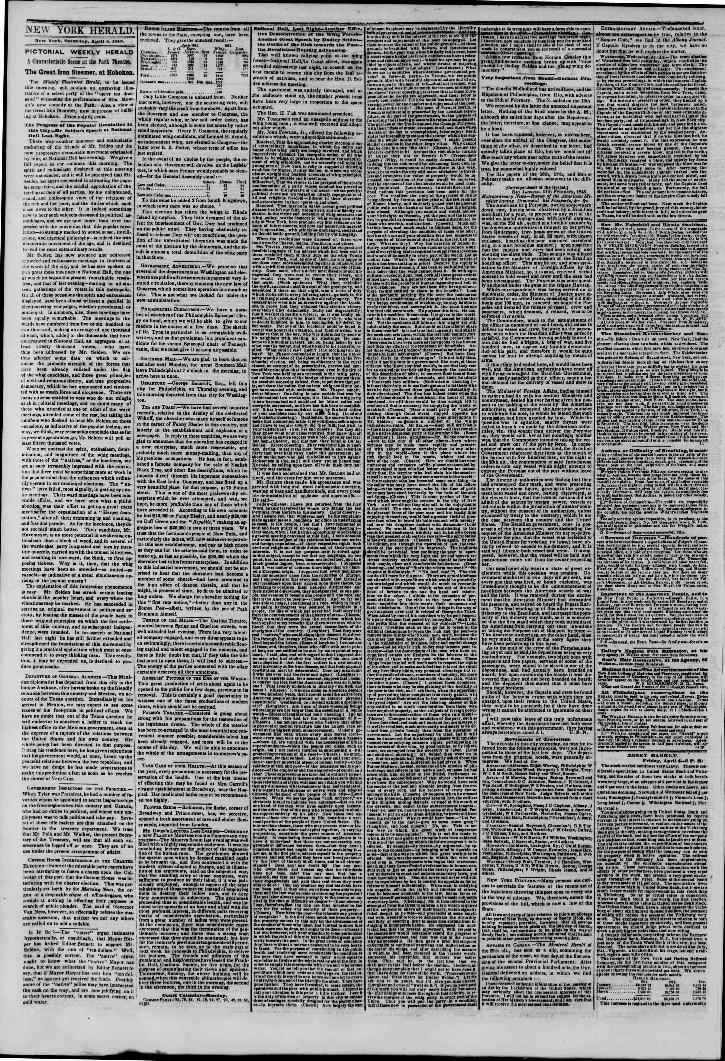 Newspaper of The New York Herald dated April 5, 1845 Page 2