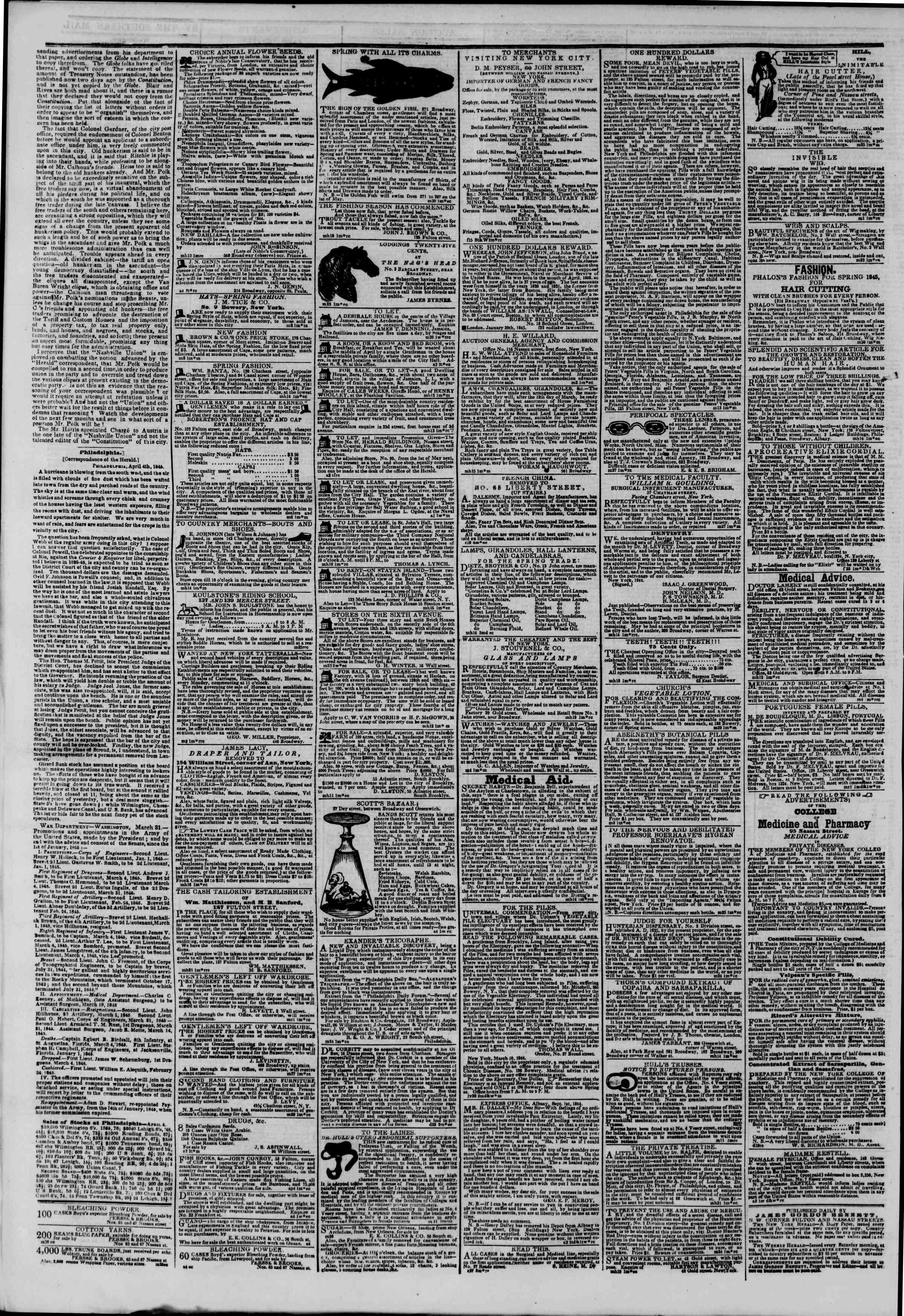 April 5, 1845 Tarihli The New York Herald Gazetesi Sayfa 4