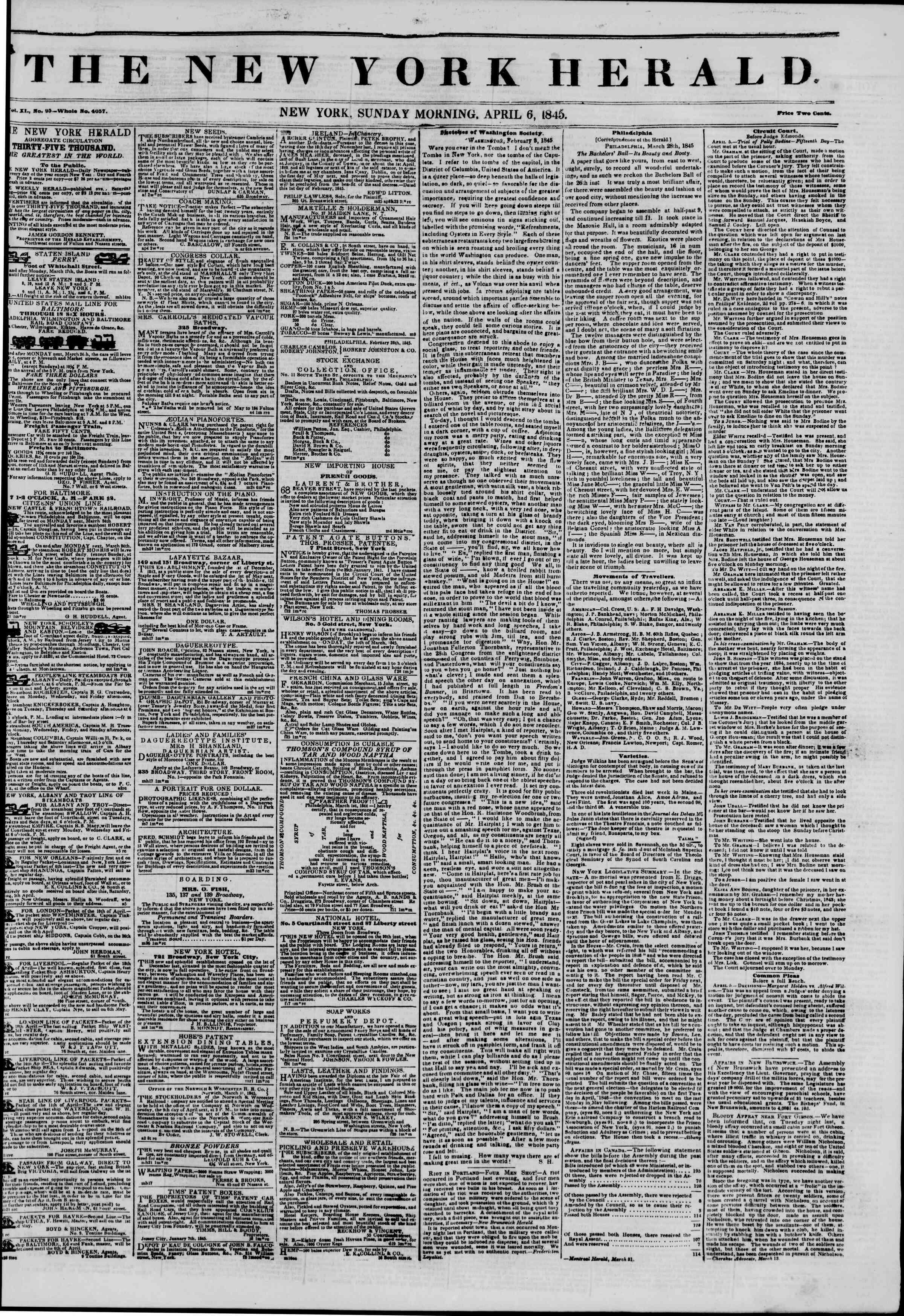 April 6, 1845 Tarihli The New York Herald Gazetesi Sayfa 1