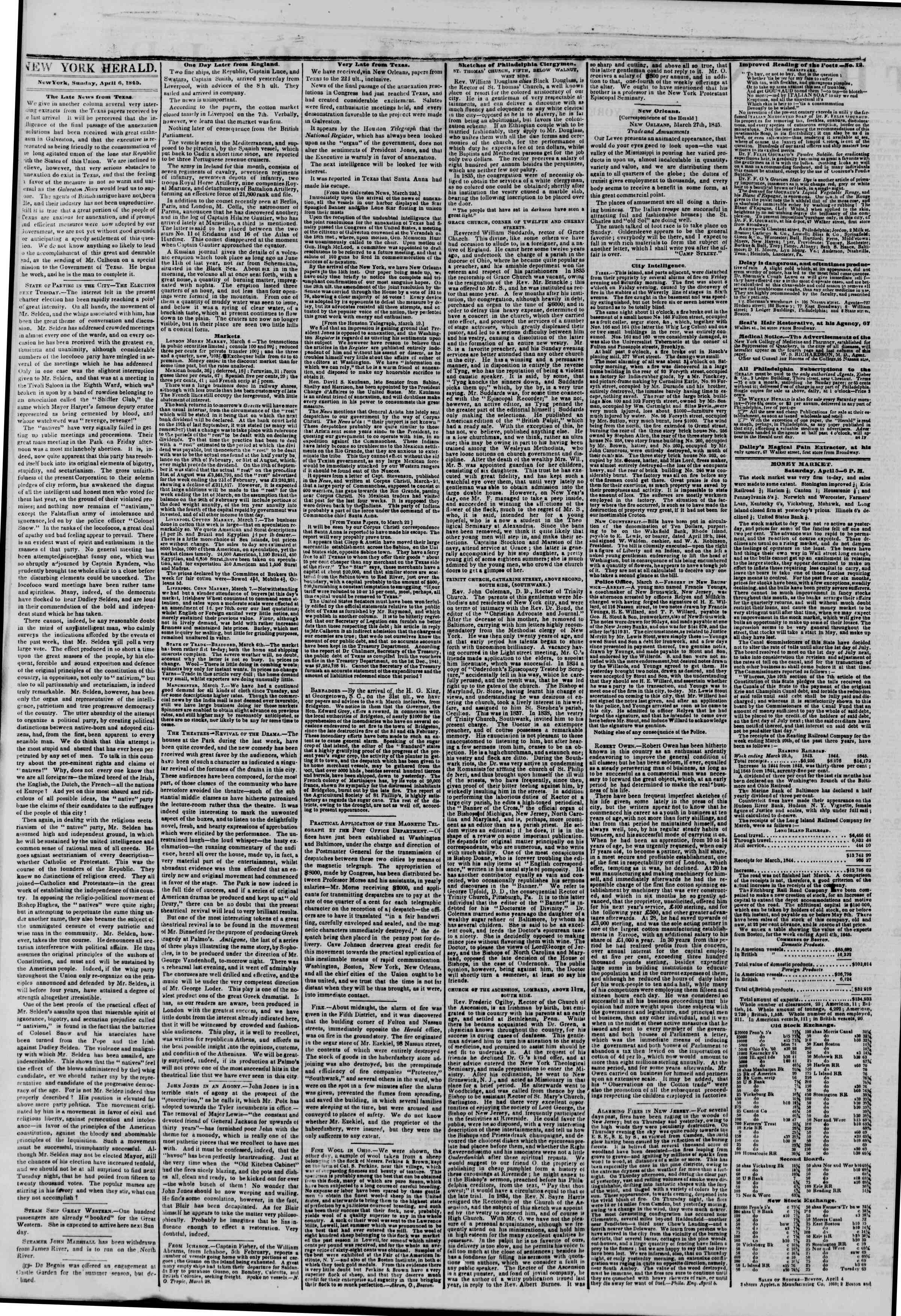 Newspaper of The New York Herald dated April 6, 1845 Page 2