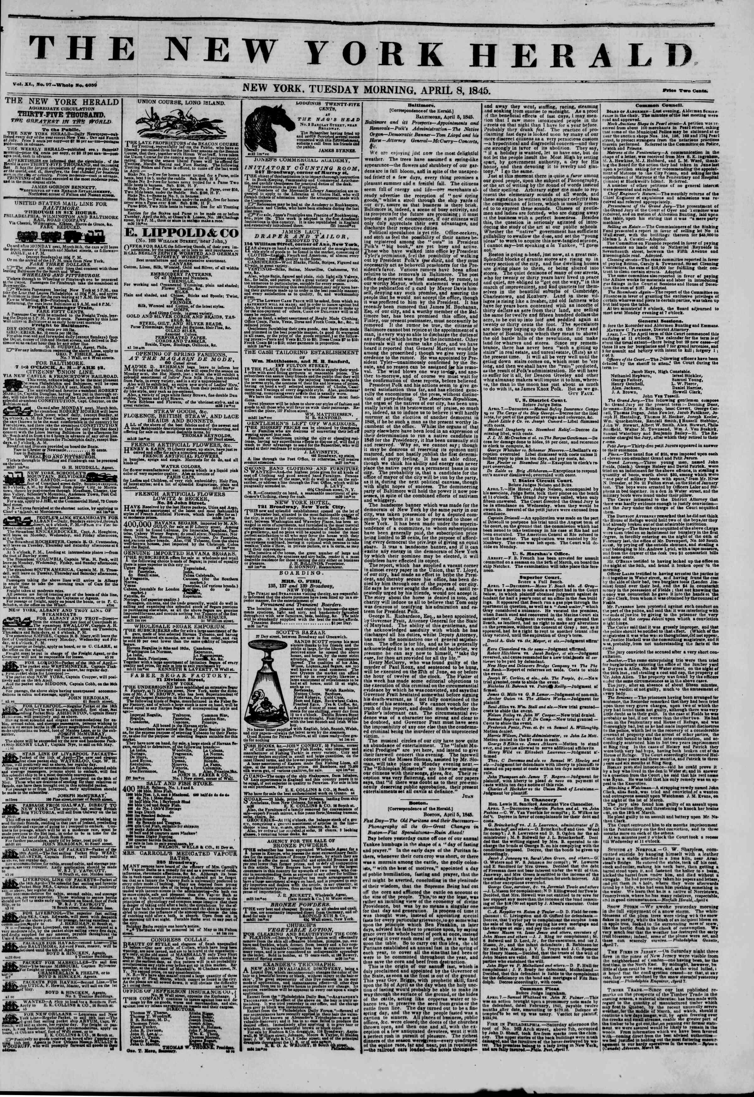 April 8, 1845 Tarihli The New York Herald Gazetesi Sayfa 1