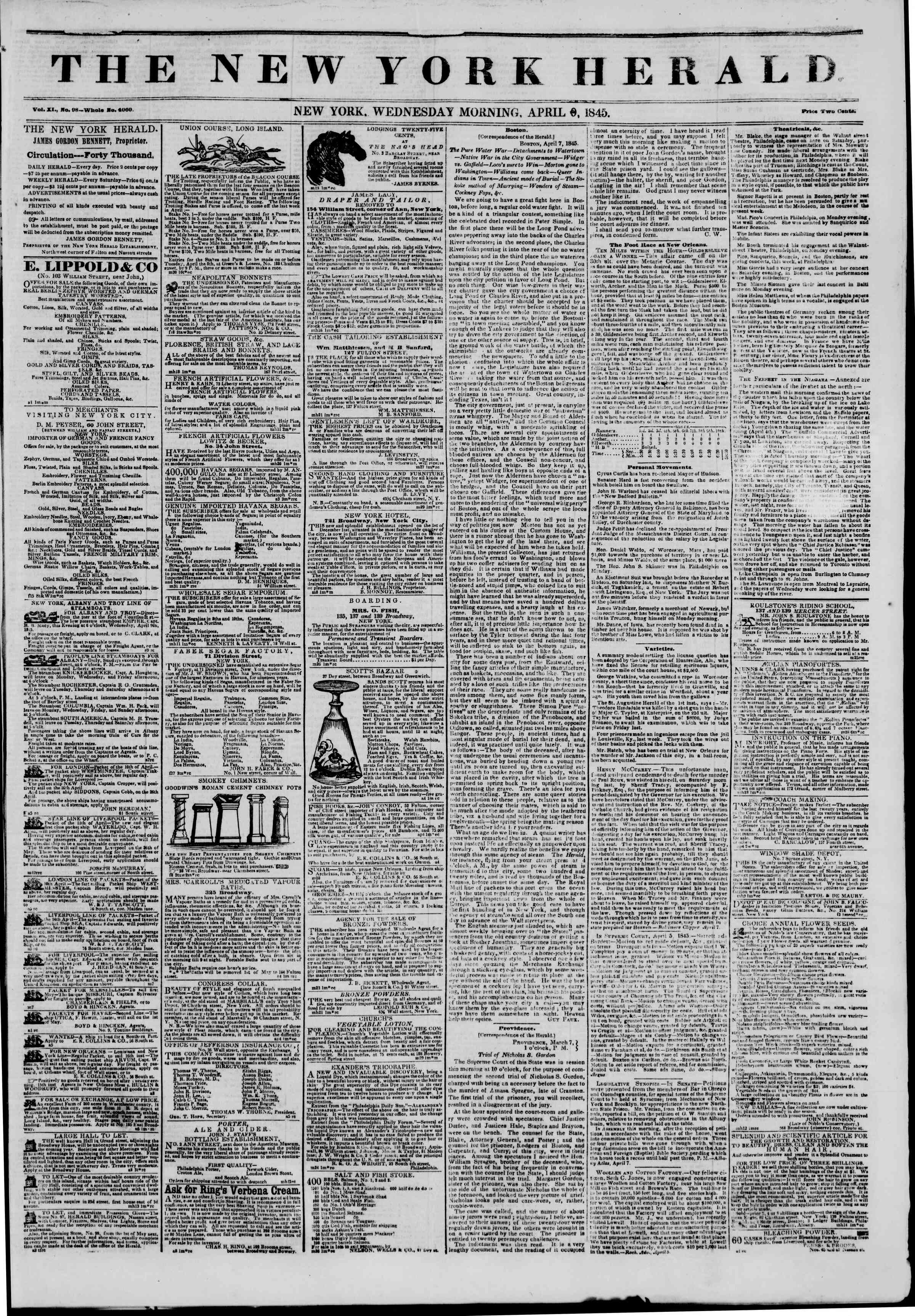 April 9, 1845 Tarihli The New York Herald Gazetesi Sayfa 1