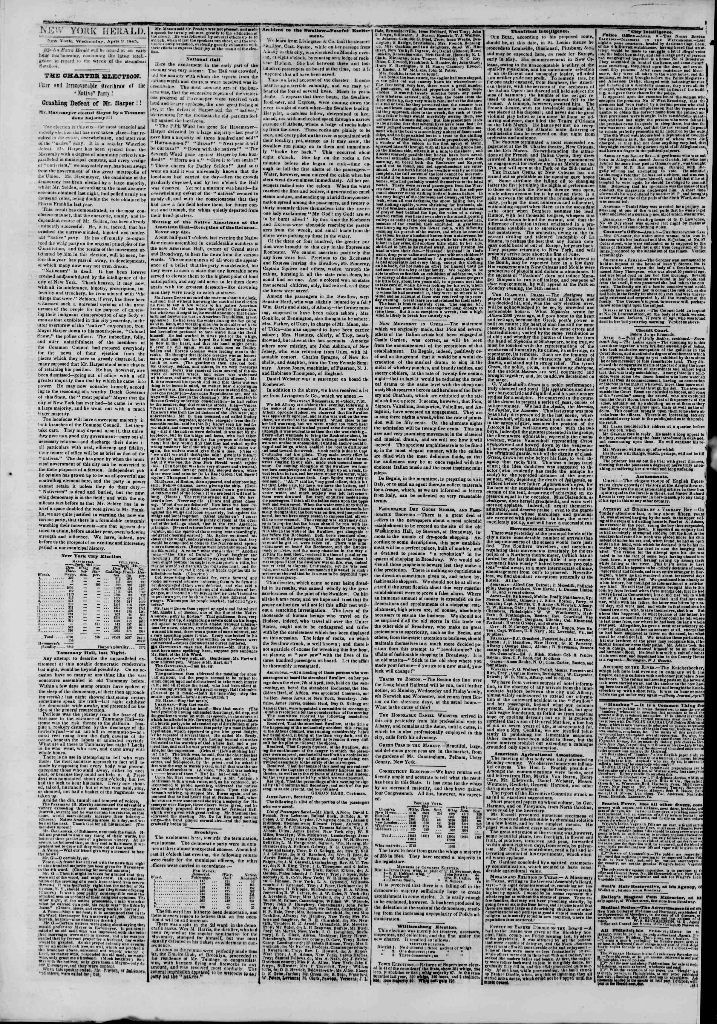 April 9, 1845 Tarihli The New York Herald Gazetesi Sayfa 2