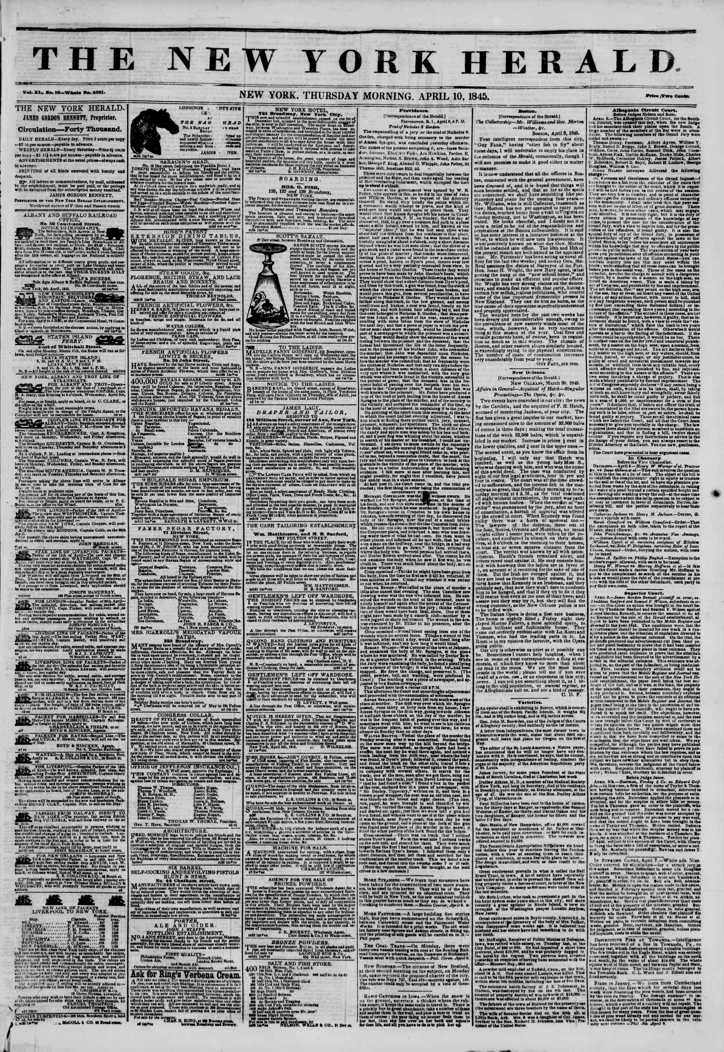 Newspaper of The New York Herald dated April 10, 1845 Page 1